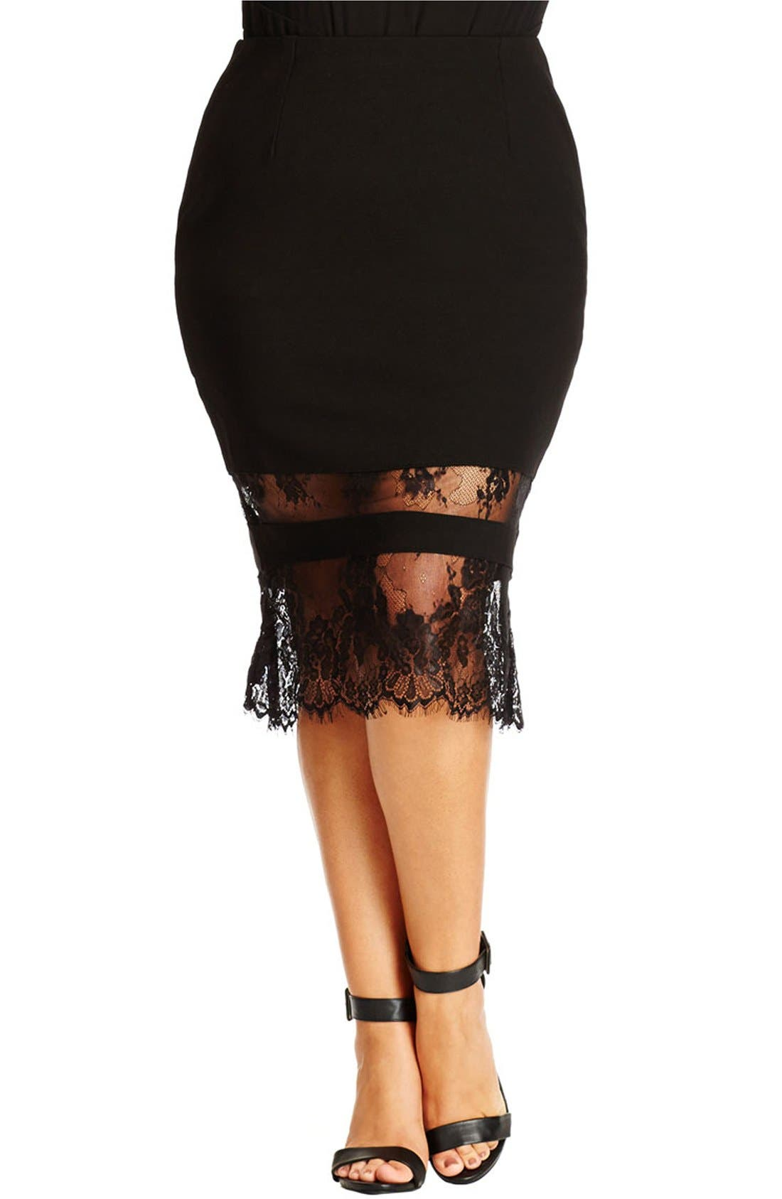 Lace Hem Tube Skirt,                         Main,                         color, BLACK