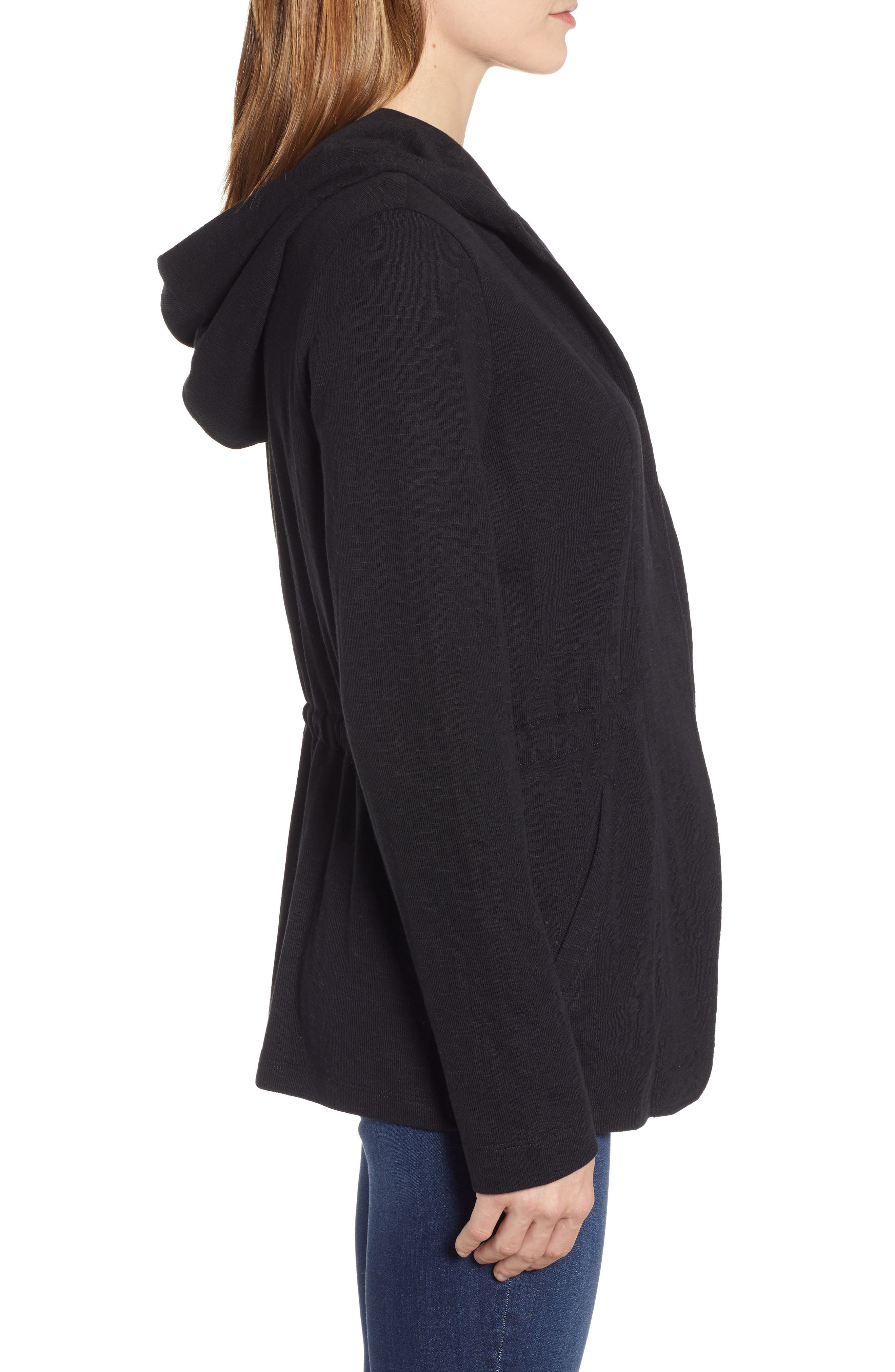 CASLON<SUP>®</SUP>,                             Open Front Hooded Cardigan,                             Alternate thumbnail 4, color,                             BLACK