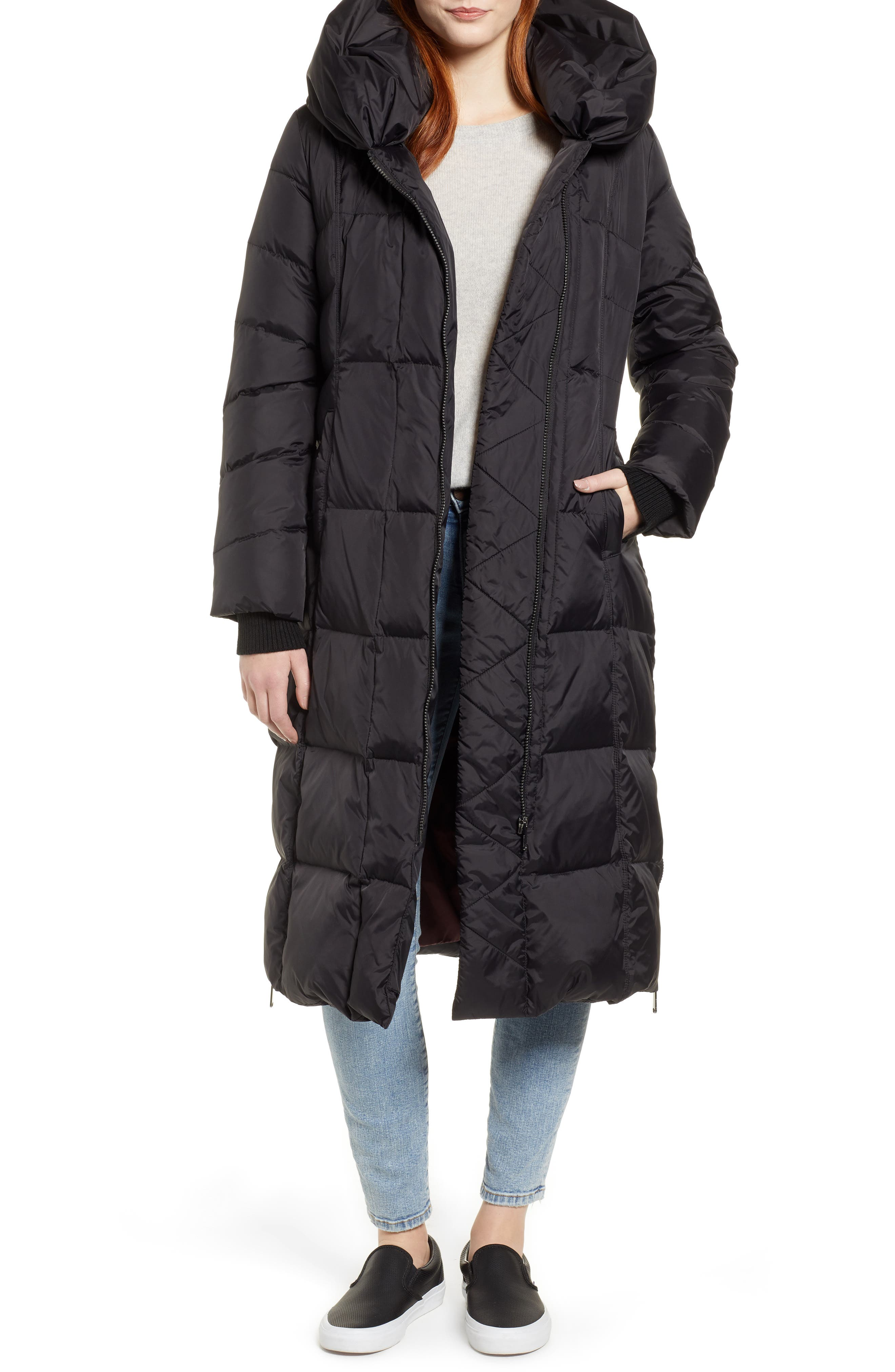 Pillow Collar Quilted Down Long Coat,                             Main thumbnail 1, color,                             BLACK