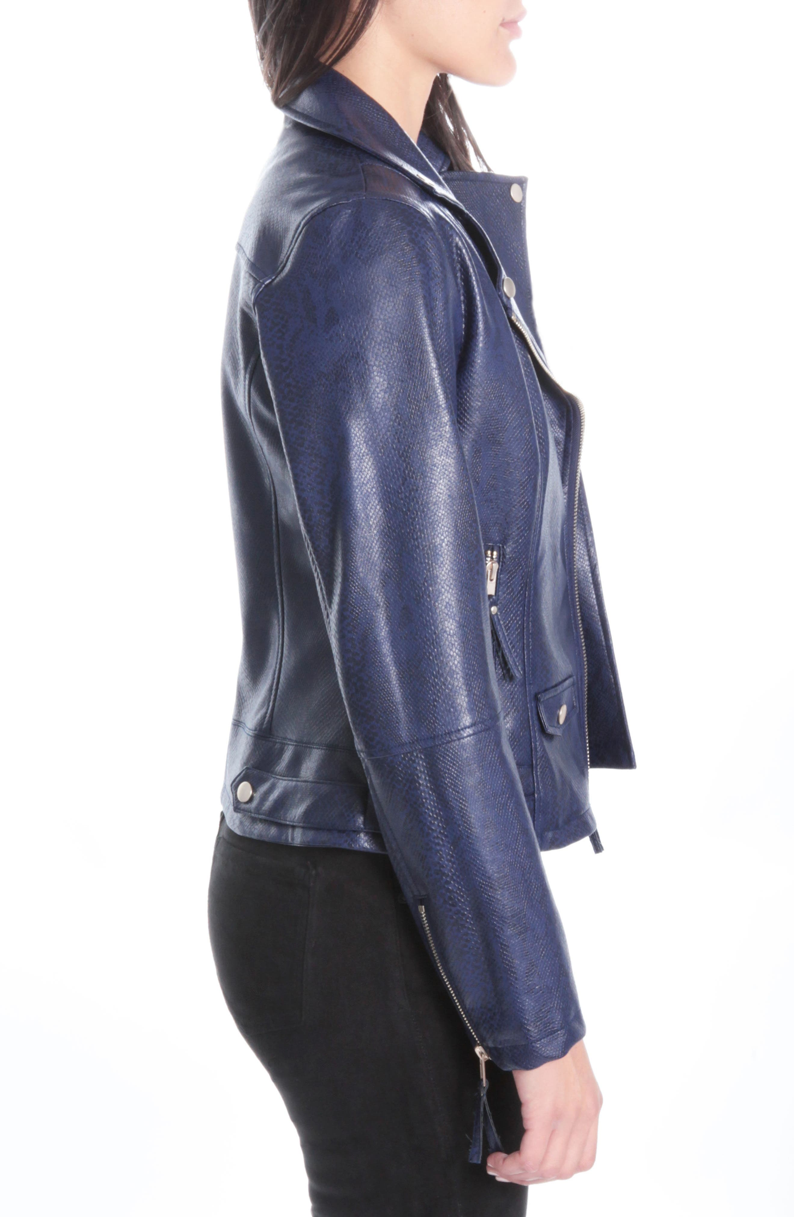 Brooke Faux Leather Moto Jacket,                             Alternate thumbnail 3, color,                             416