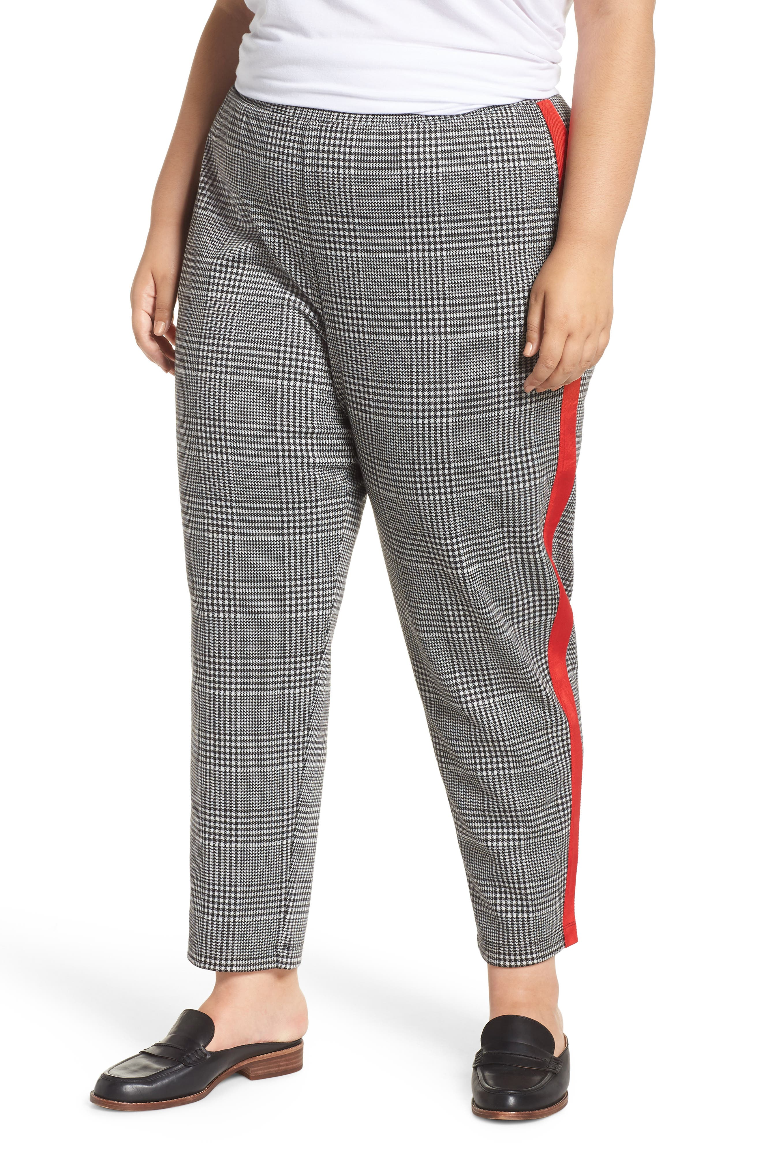 Side Stripe Glen Plaid Pants,                             Main thumbnail 1, color,                             BLACK GLEN CHECK