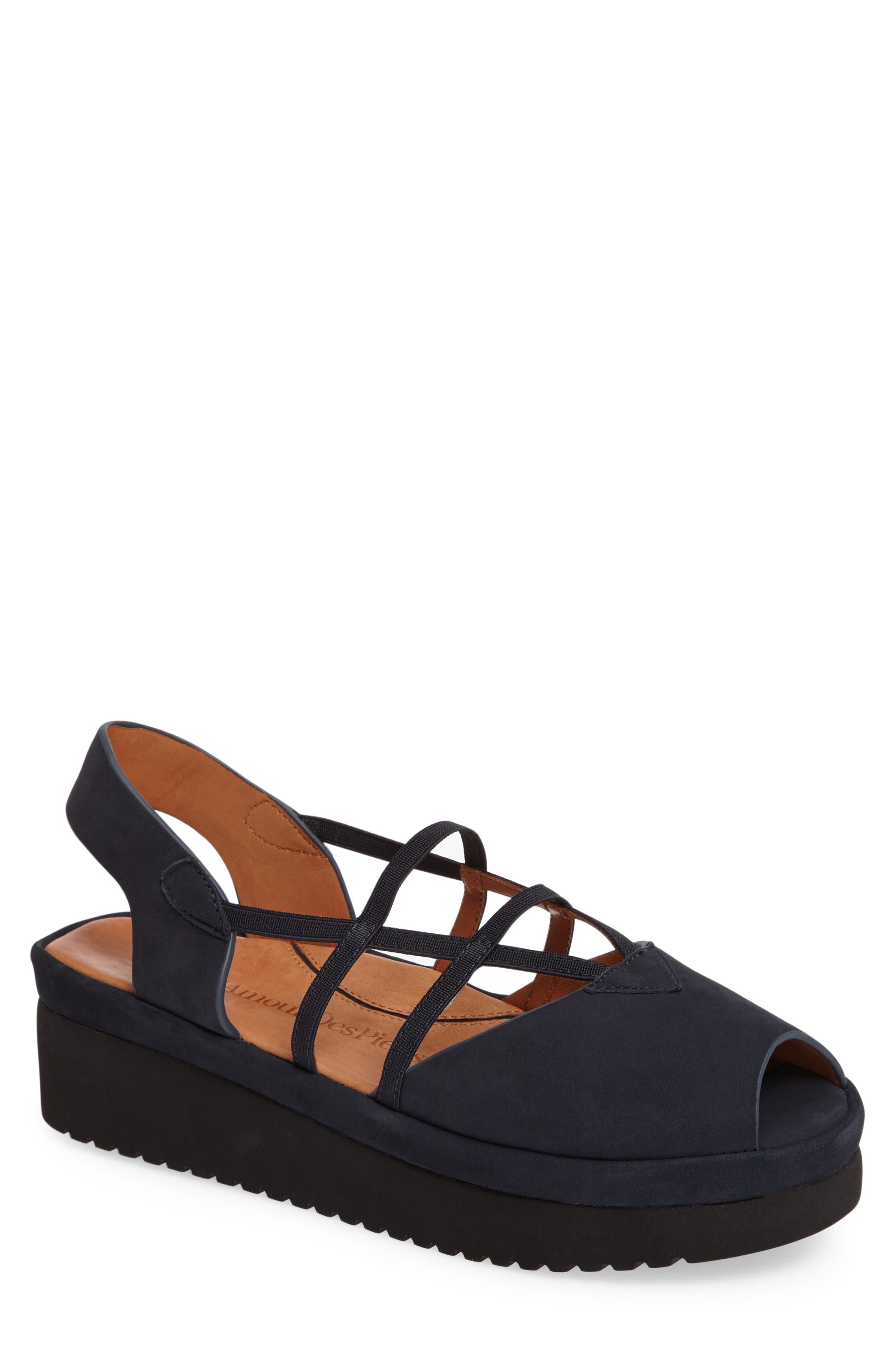 Adelais Platform Wedge Sandal,                         Main,                         color, NAVY NUBUCK