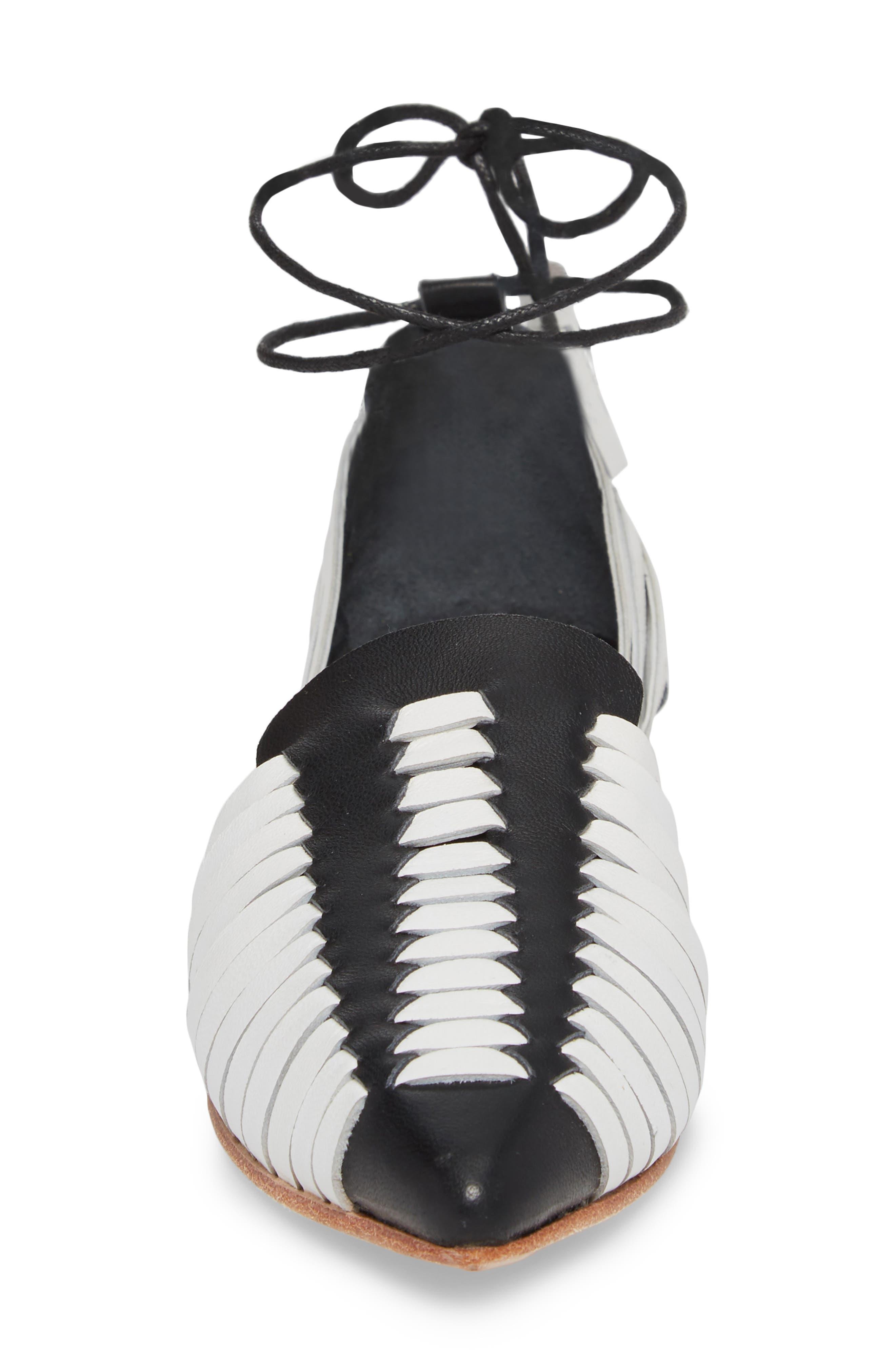 Hollis Huarache Ankle Tie Flat,                             Alternate thumbnail 4, color,                             BLACK/ WHITE LEATHER