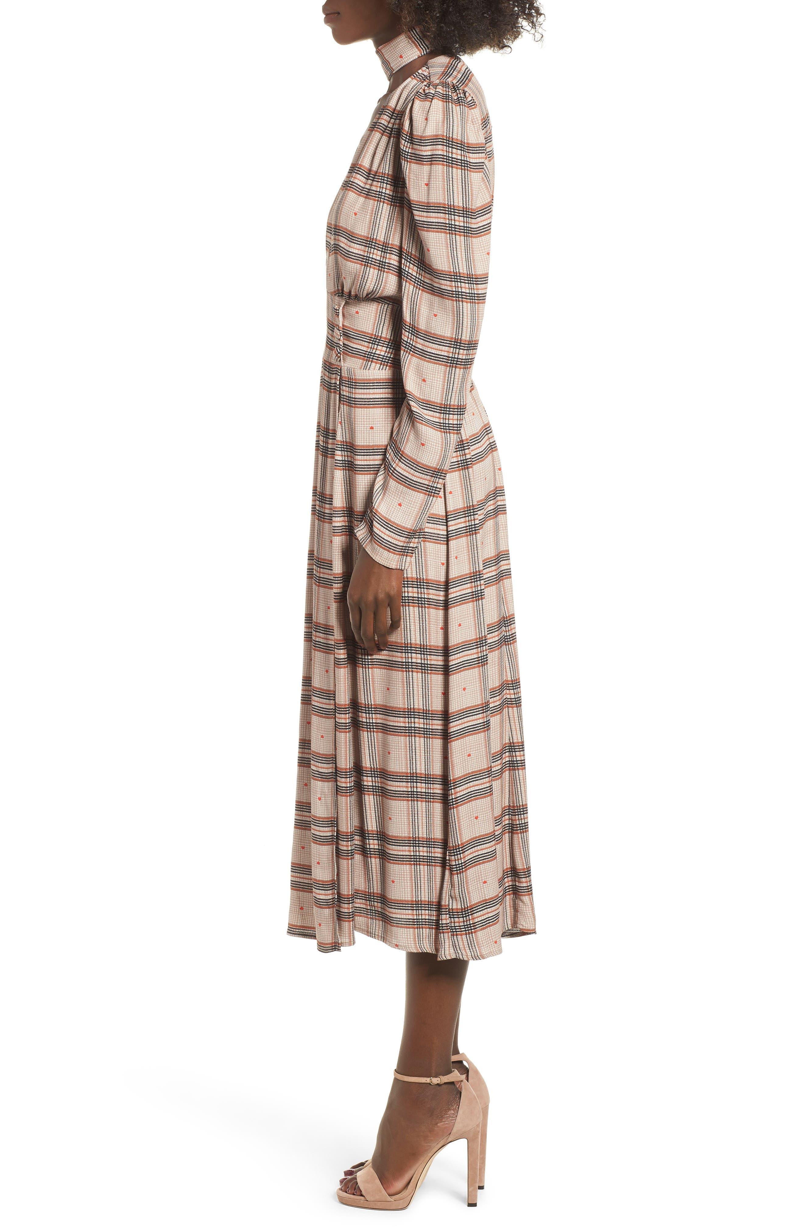 Quinn Wrap Midi Dress,                             Alternate thumbnail 3, color,                             PLAID WITH HEART