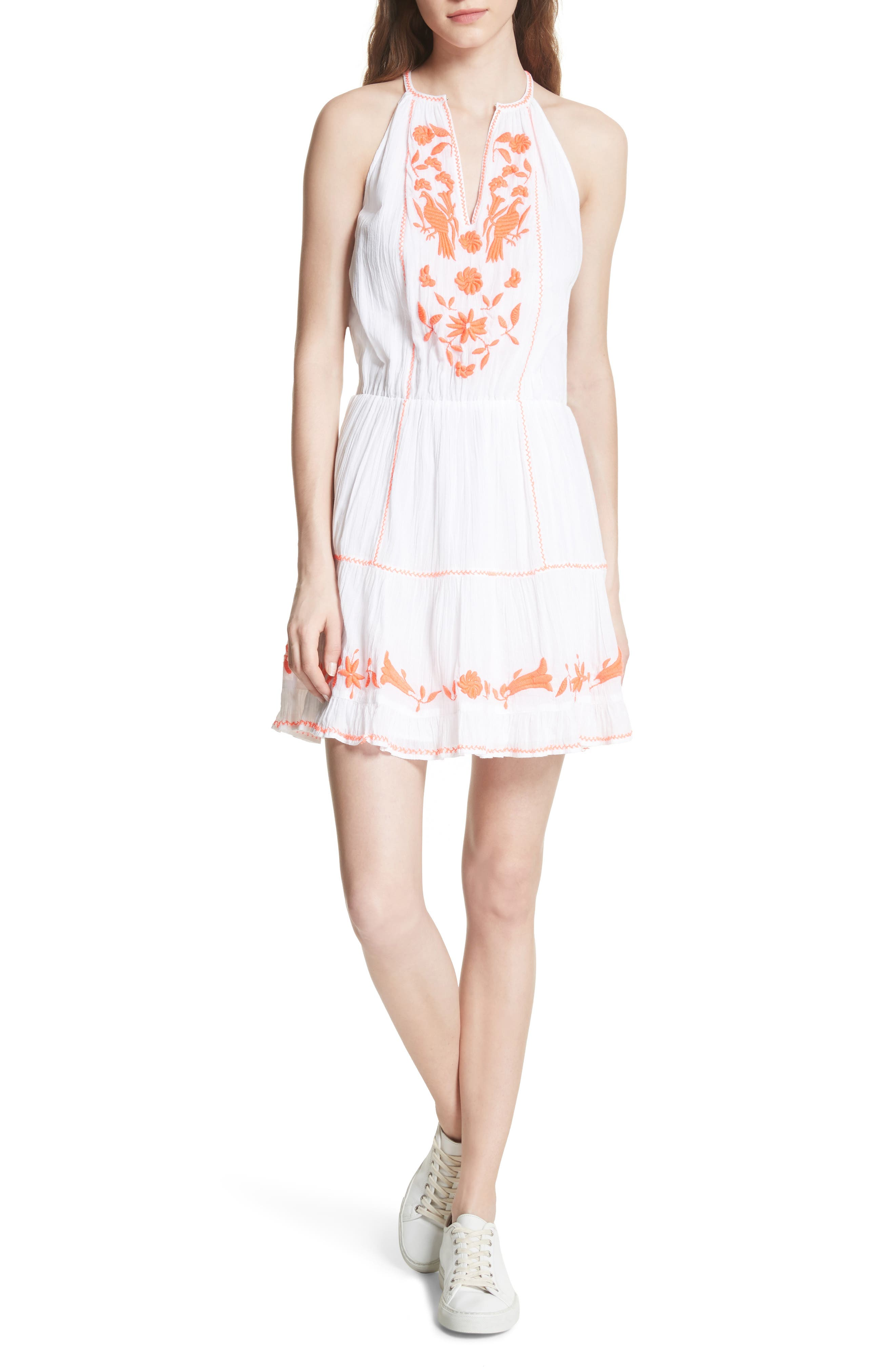 Clemency Embroidered Cotton Gauze Dress,                             Alternate thumbnail 5, color,                             138