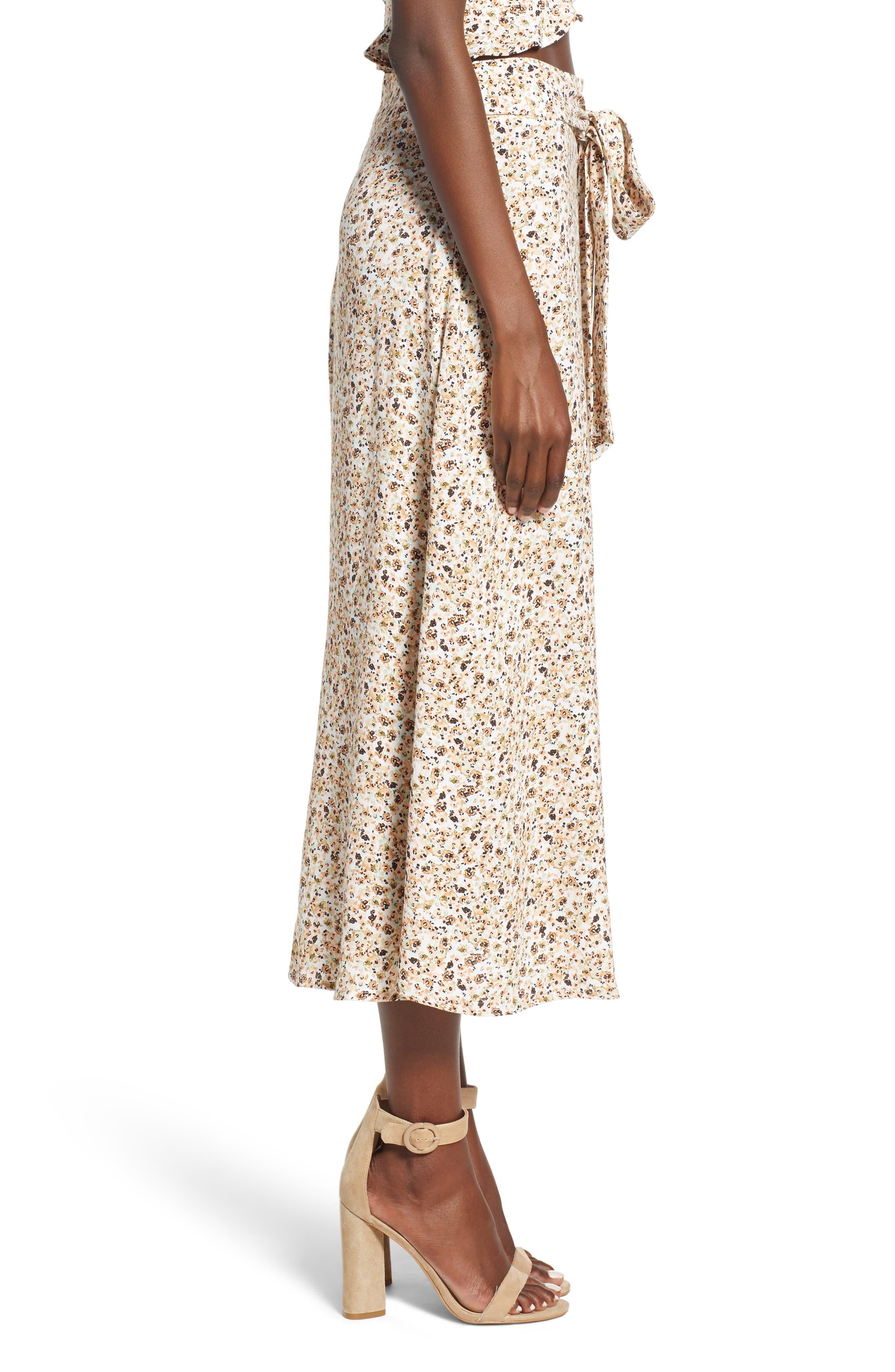 Mia Ruffle Midi Skirt,                             Alternate thumbnail 3, color,                             BEIGE DITSY