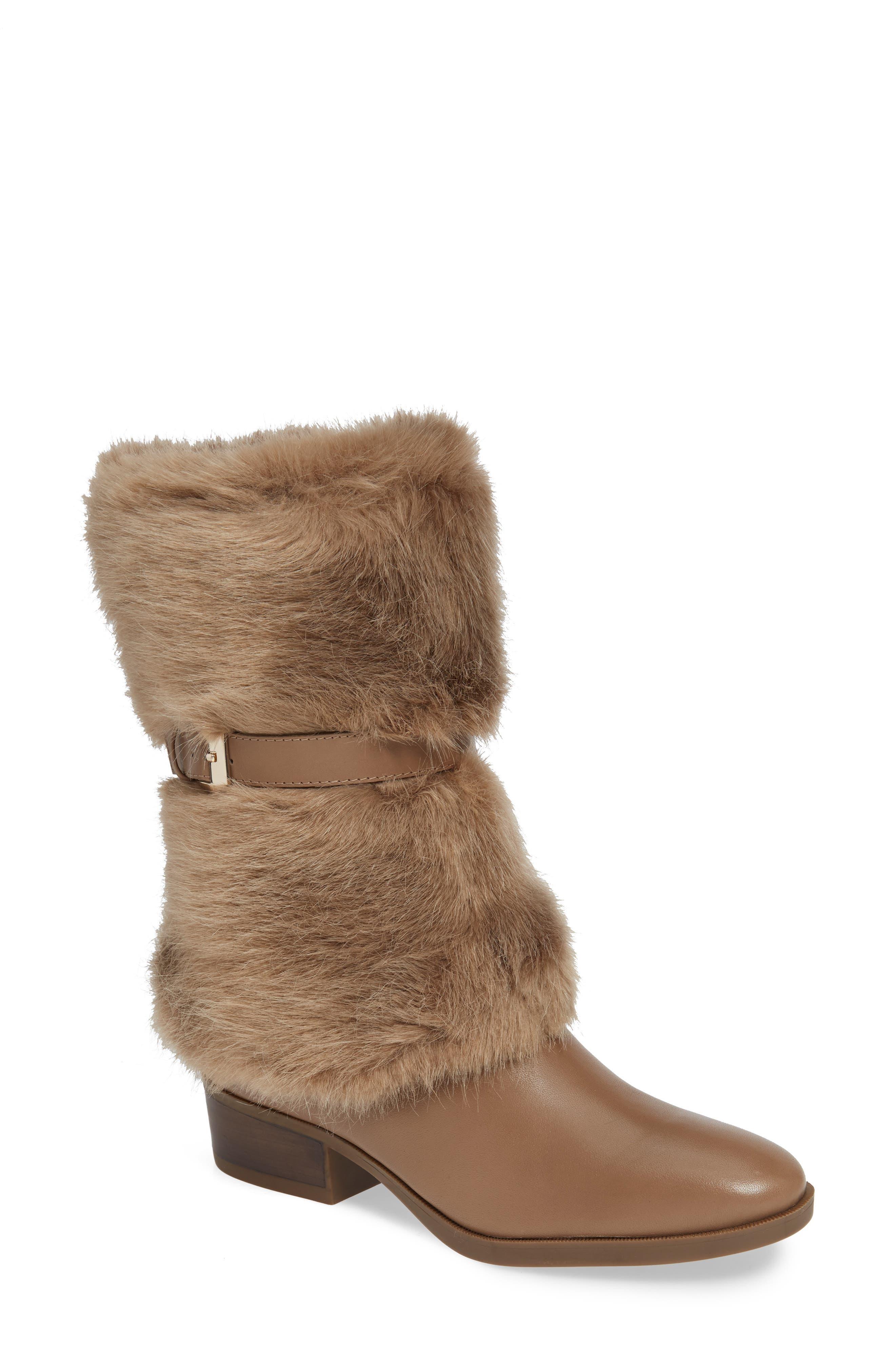 Taryn Rose Giselle Water Resistant Faux Fur Boot, Brown