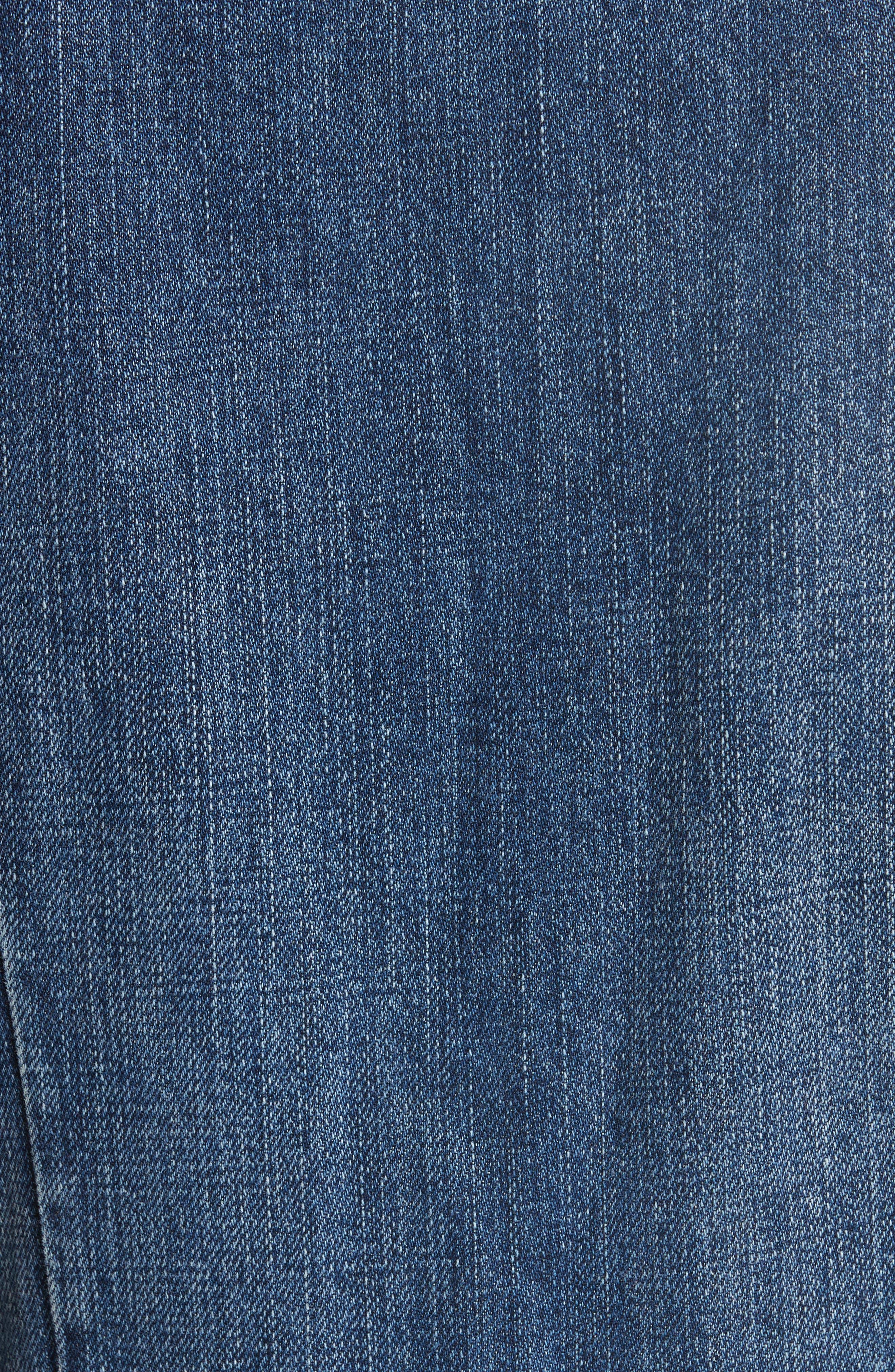 Denim Fit & Flare Midi Dress,                             Alternate thumbnail 6, color,                             INDIGO