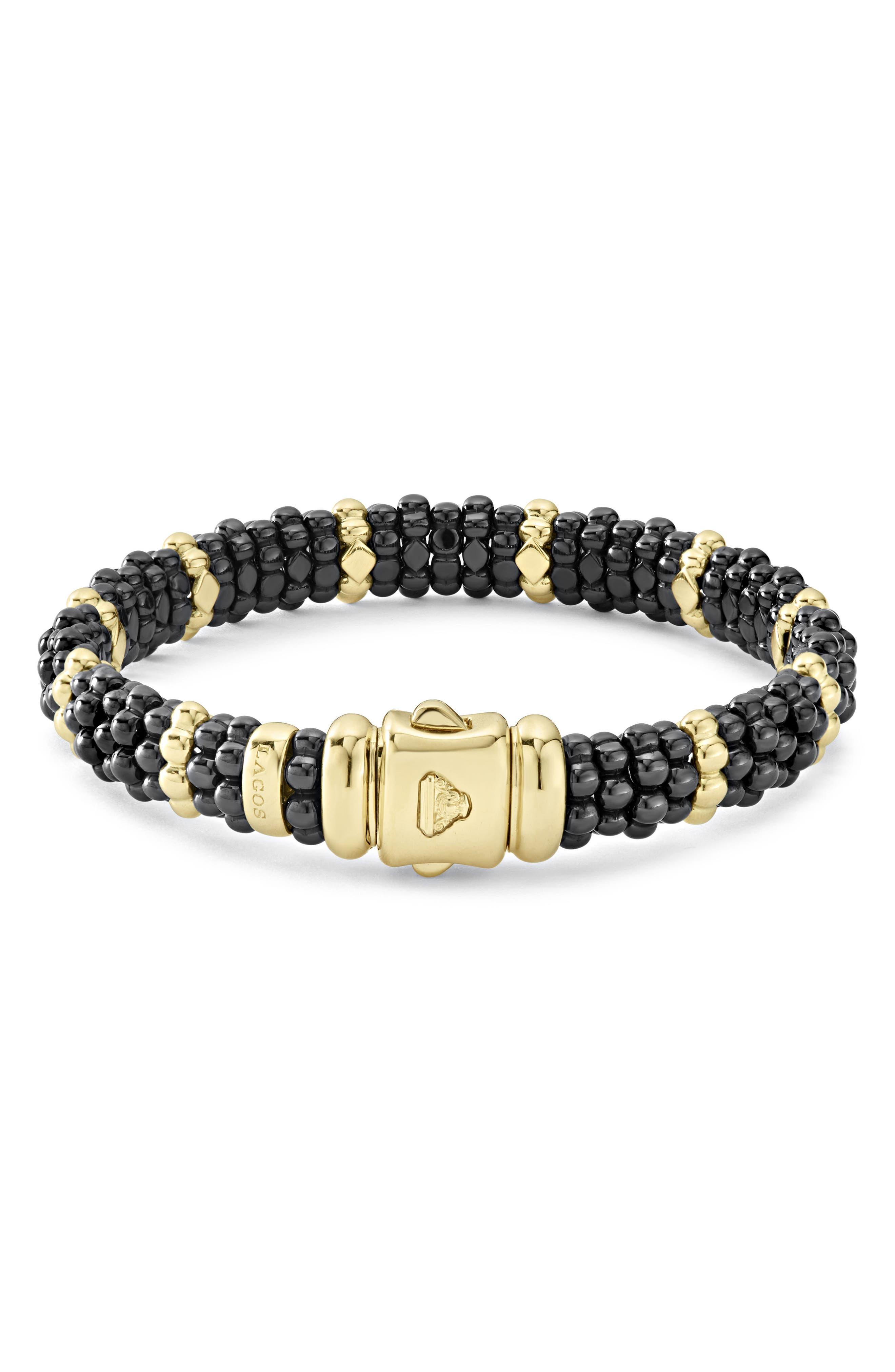 Gold & Black Caviar Station Bracelet,                             Alternate thumbnail 3, color,                             GOLD/ BLACK