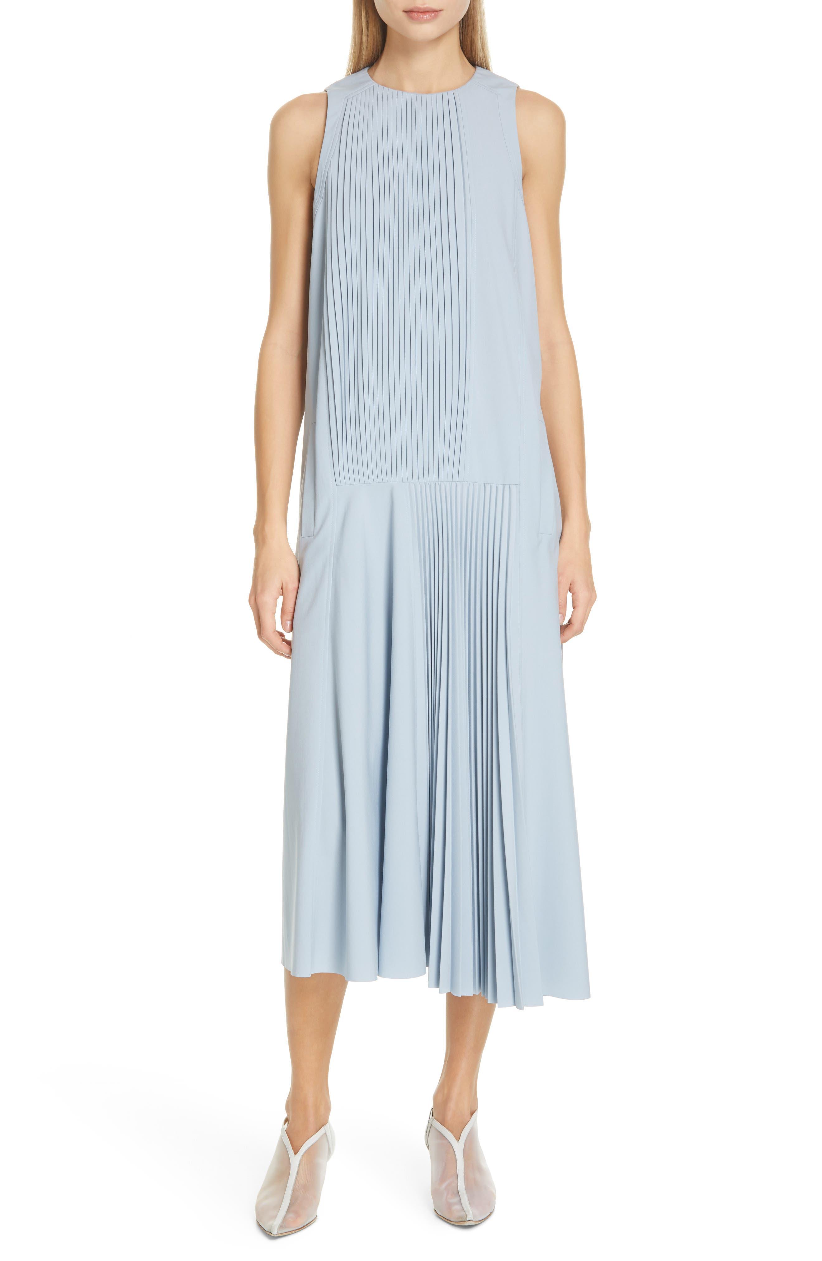 Tibi Edith Pleat Asymmetrical Midi Dress, Grey