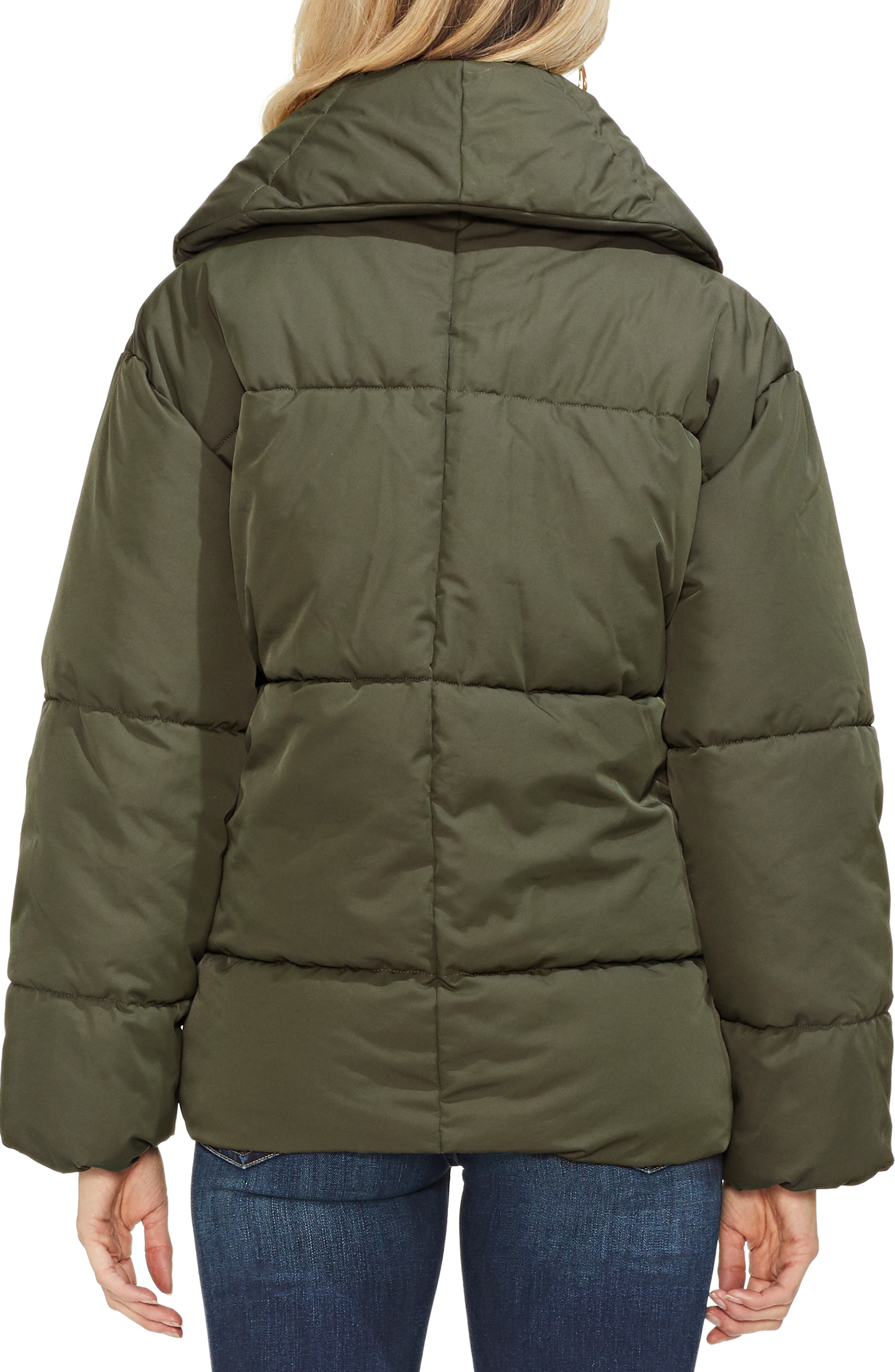 Matte Quilted Puffer Jacket,                             Alternate thumbnail 3, color,                             360