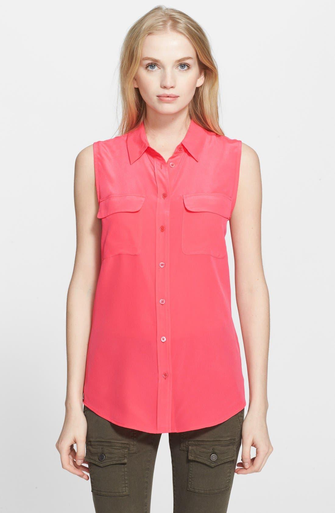 'Slim Signature' Sleeveless Silk Shirt,                             Main thumbnail 38, color,