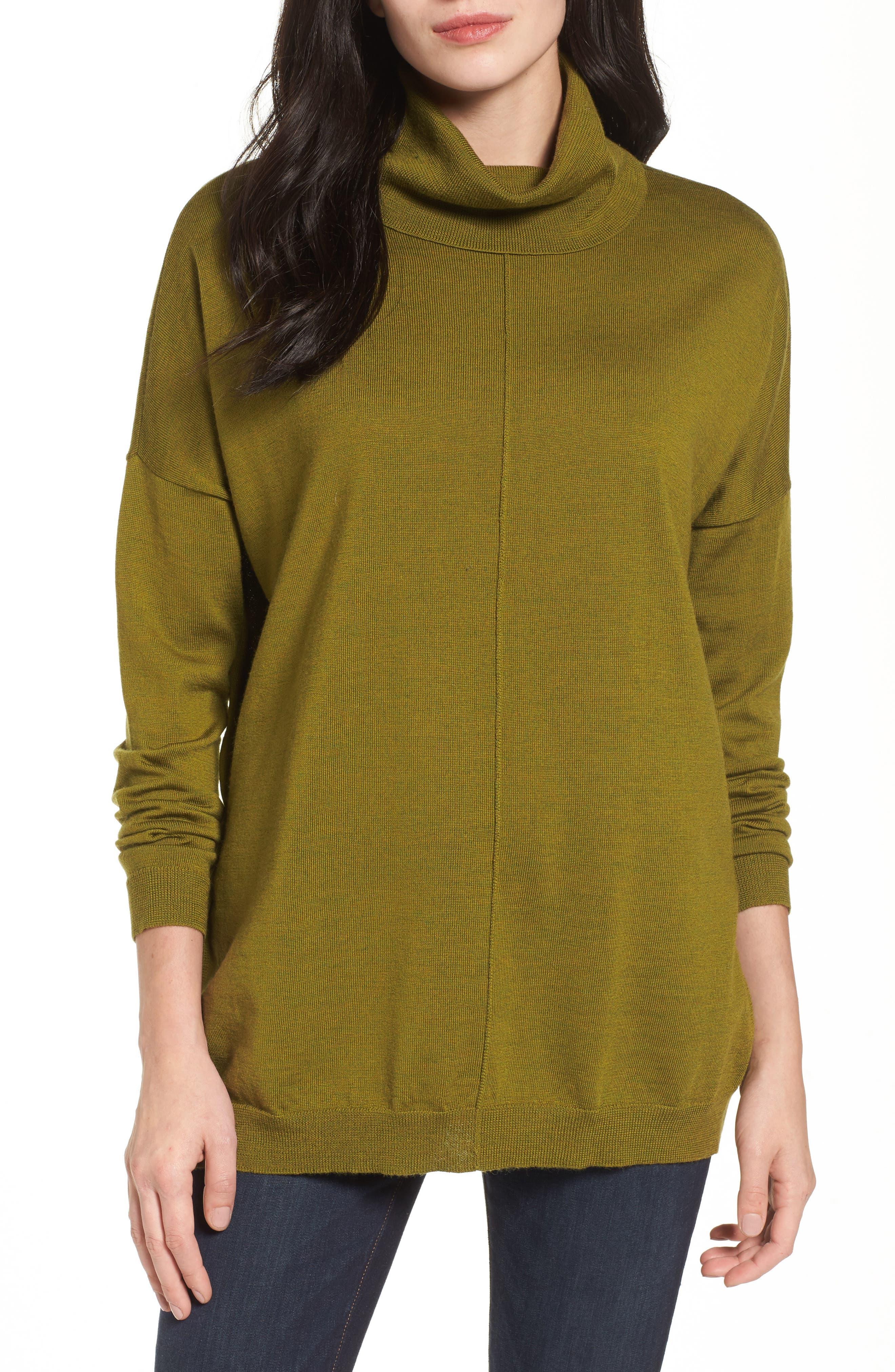 Merino Wool Boxy Turtleneck Sweater,                             Main thumbnail 2, color,
