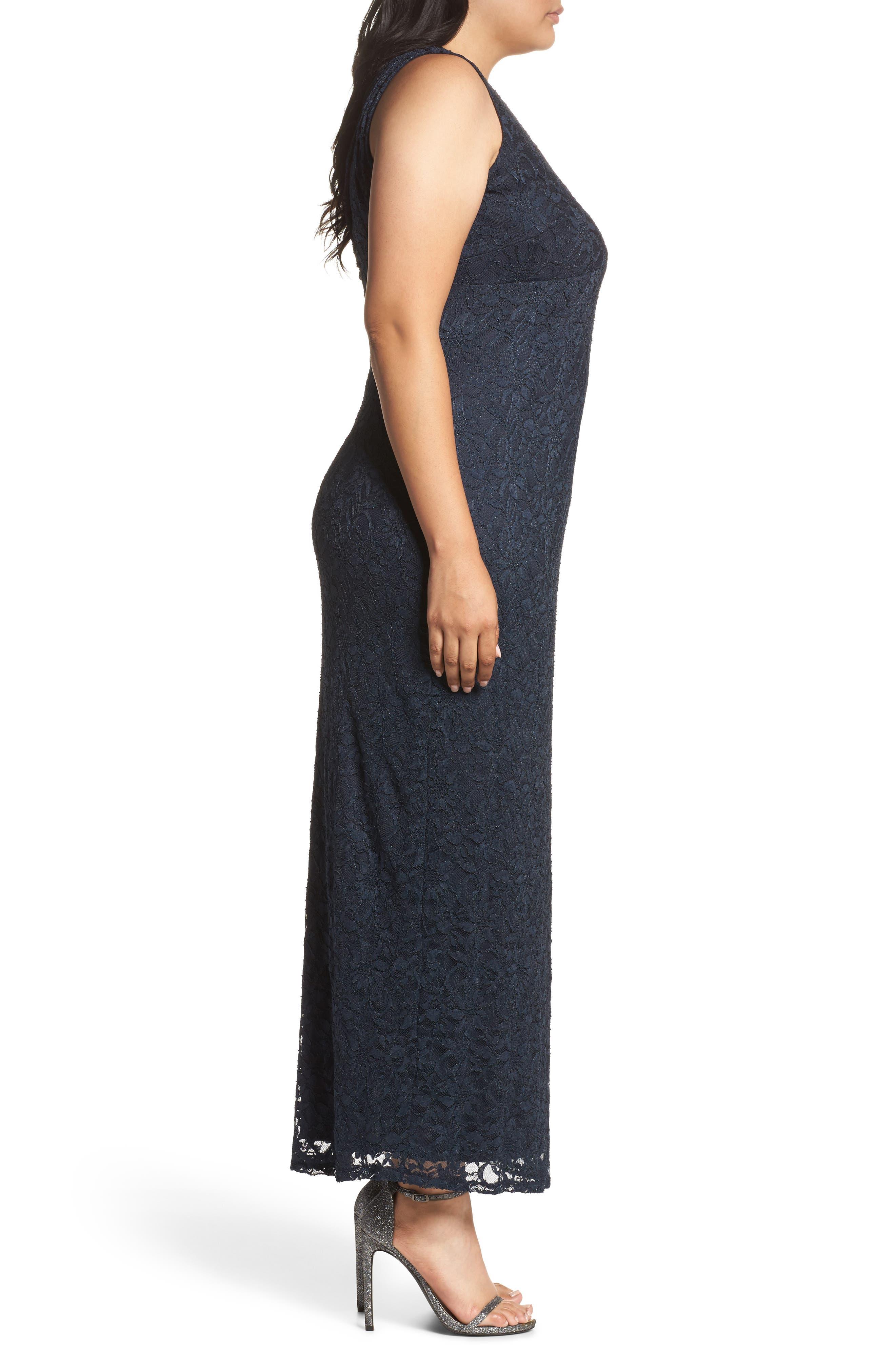 Cutout Back Lace Empire Gown,                             Alternate thumbnail 3, color,                             410