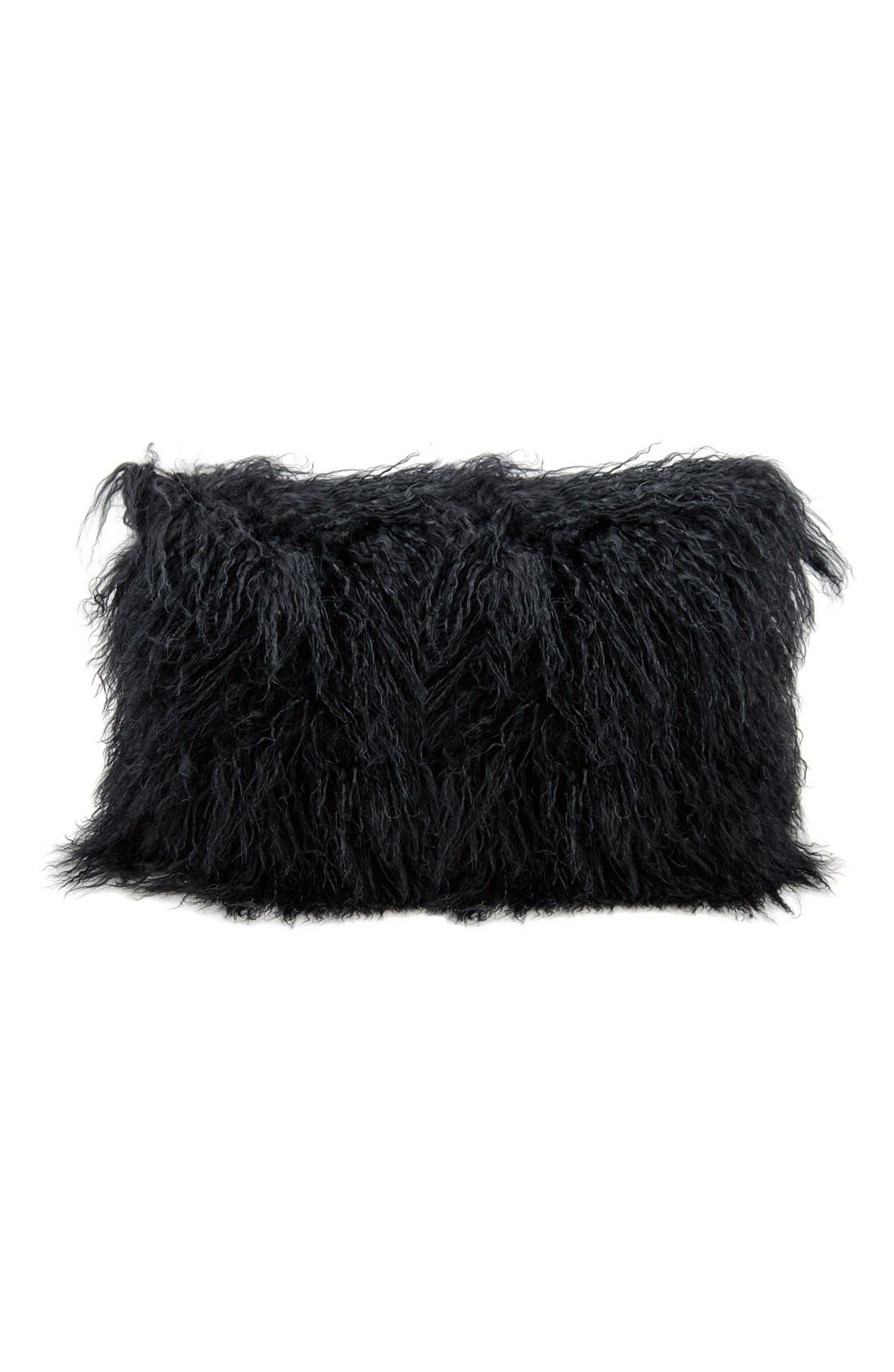 Genuine Tibetan Shearling Pillow,                             Main thumbnail 1, color,                             BLACK