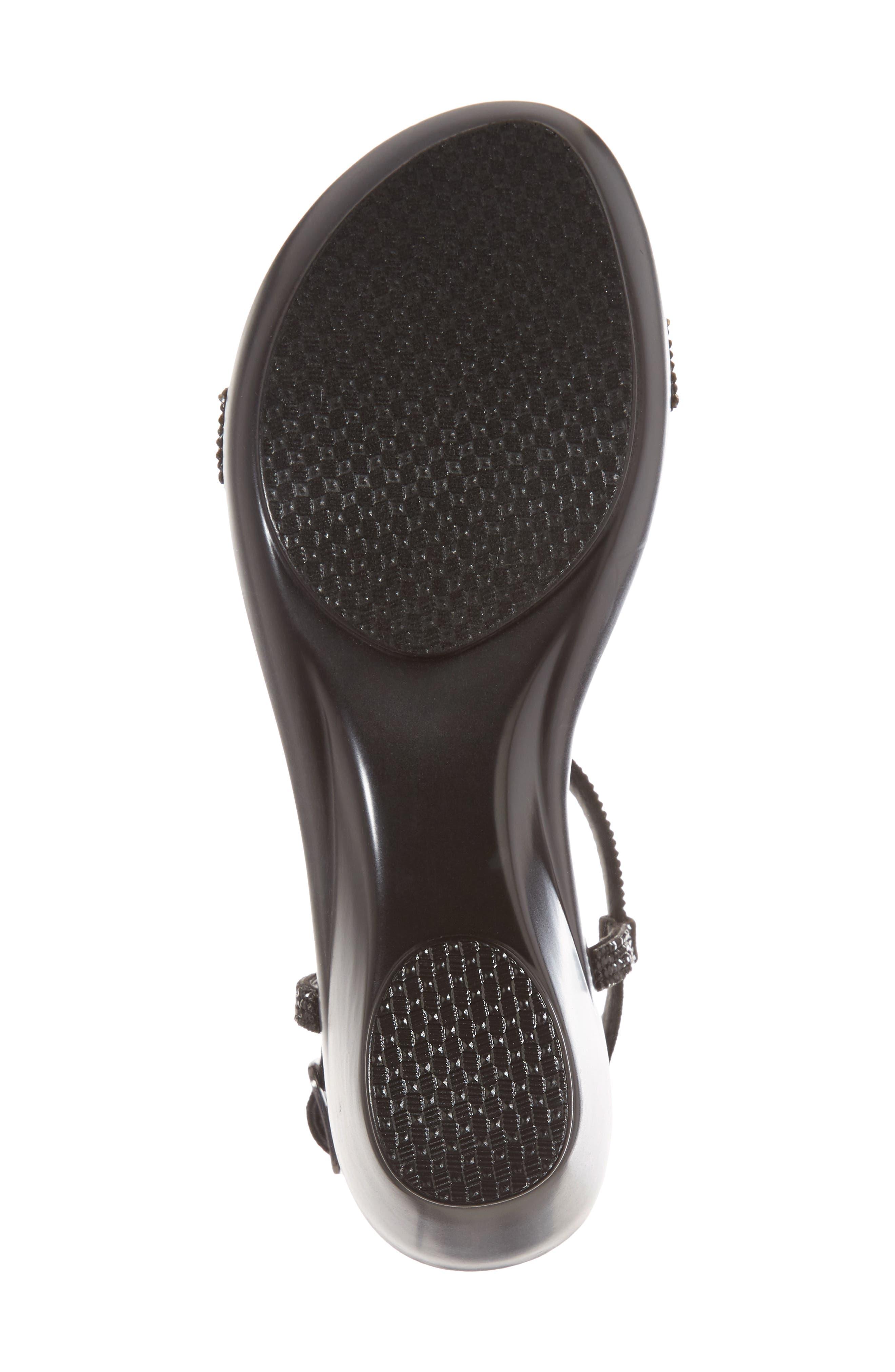 Athena Alexandar Karinya Embellished Strappy Wedge Sandal,                             Alternate thumbnail 6, color,                             BLACK SUEDE