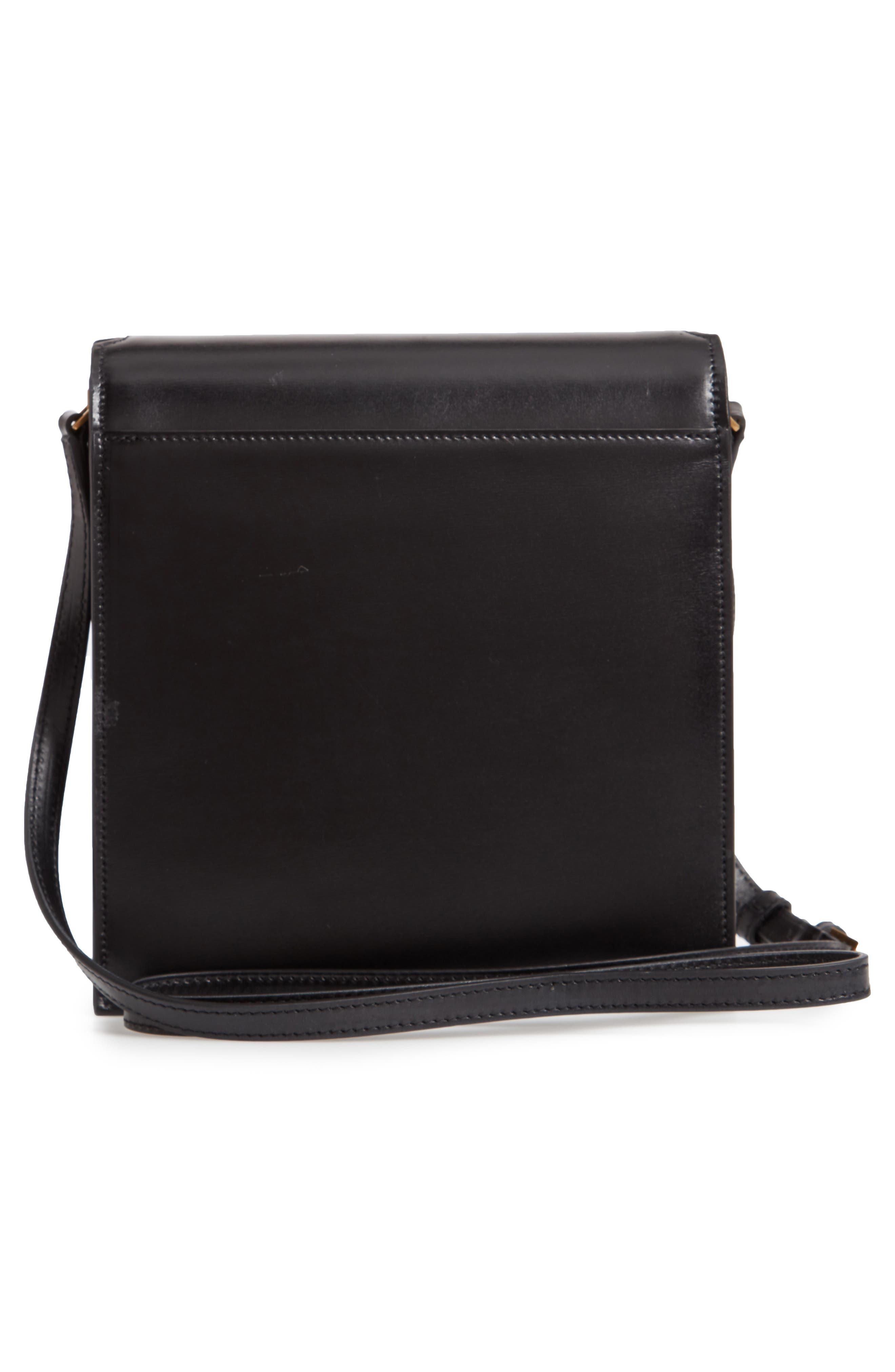 Sao Leather Shoulder Bag,                             Alternate thumbnail 3, color,                             NOIR