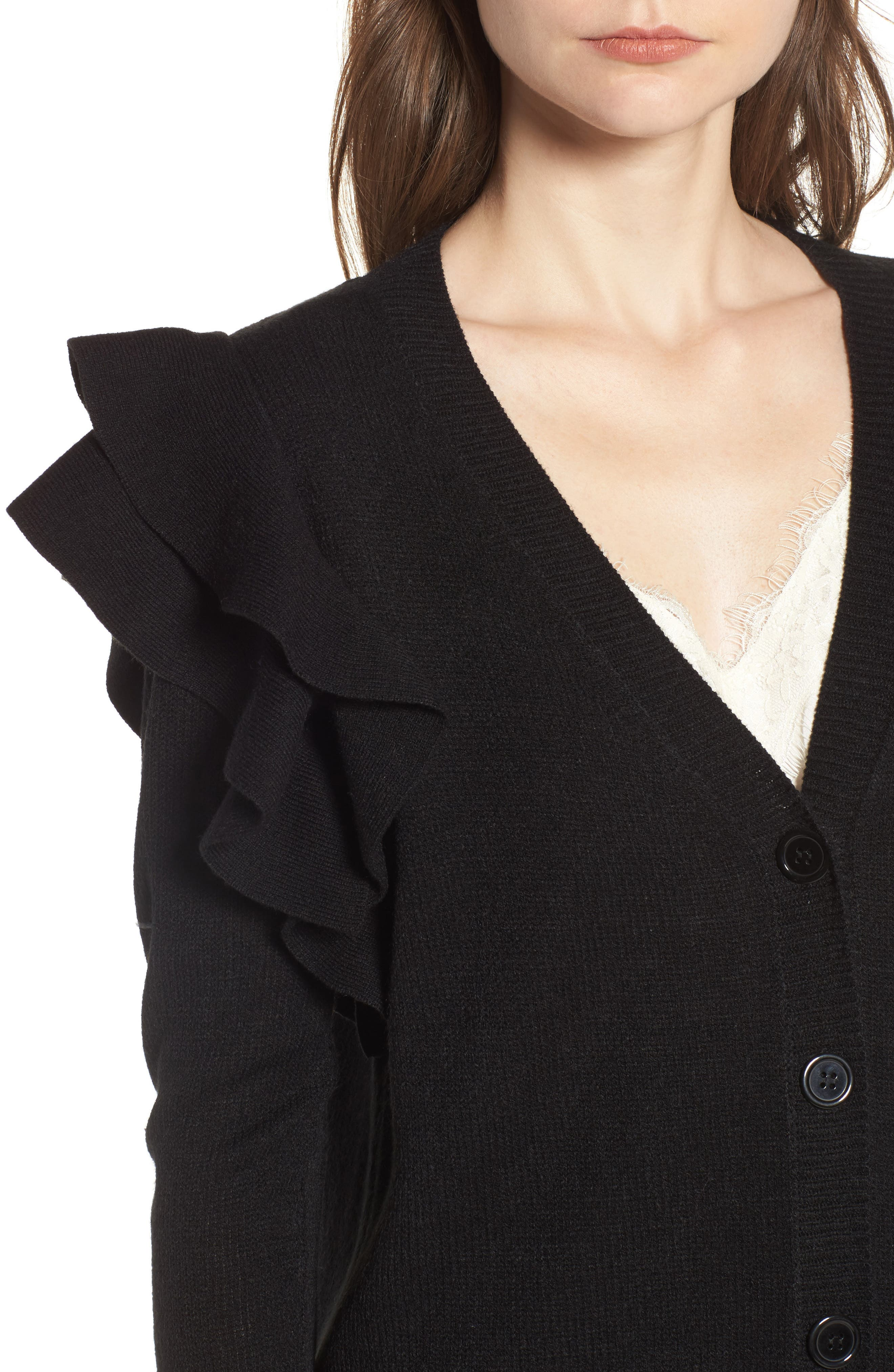 Ruffle Shoulder Cardigan,                             Alternate thumbnail 10, color,
