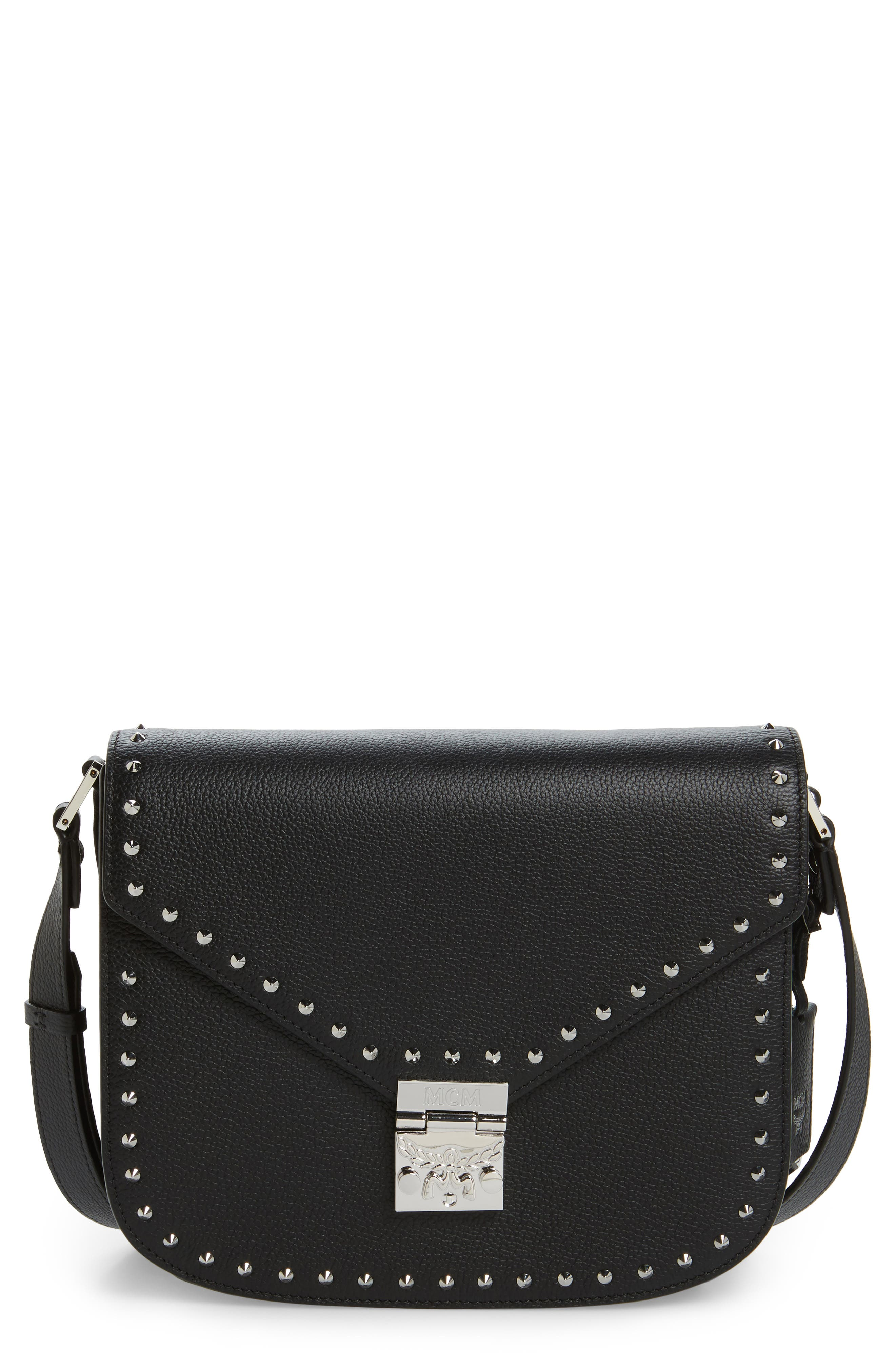 Patricia Studded Outline Leather Shoulder Bag,                             Main thumbnail 1, color,                             001