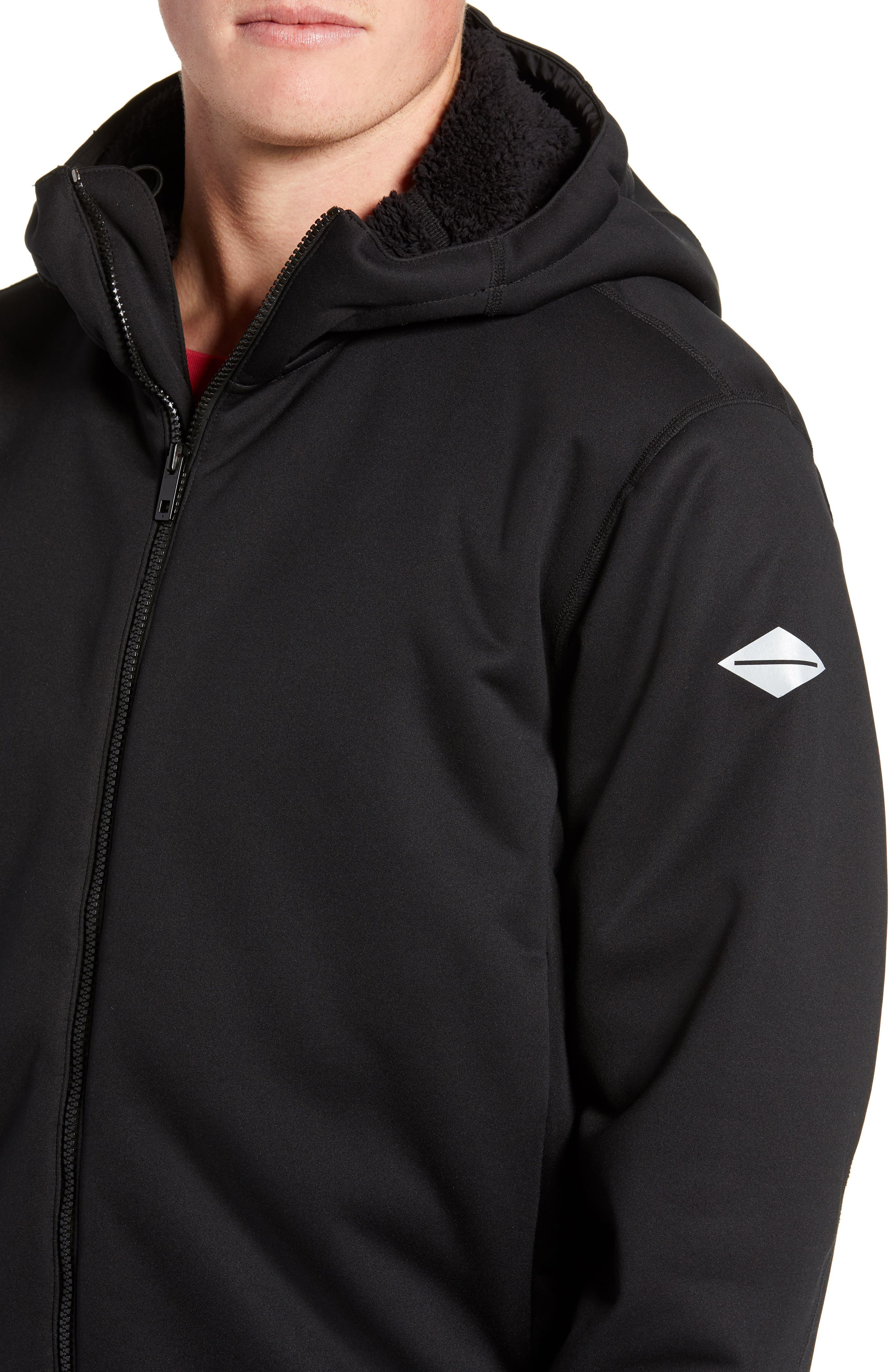 Tactic Hooded Fleece Jacket,                             Alternate thumbnail 4, color,                             BLACK