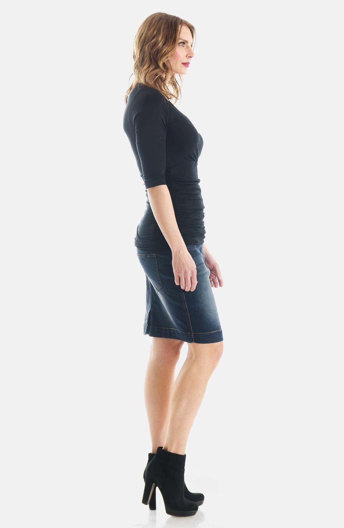 Denim Maternity Skirt,                             Alternate thumbnail 5, color,                             400