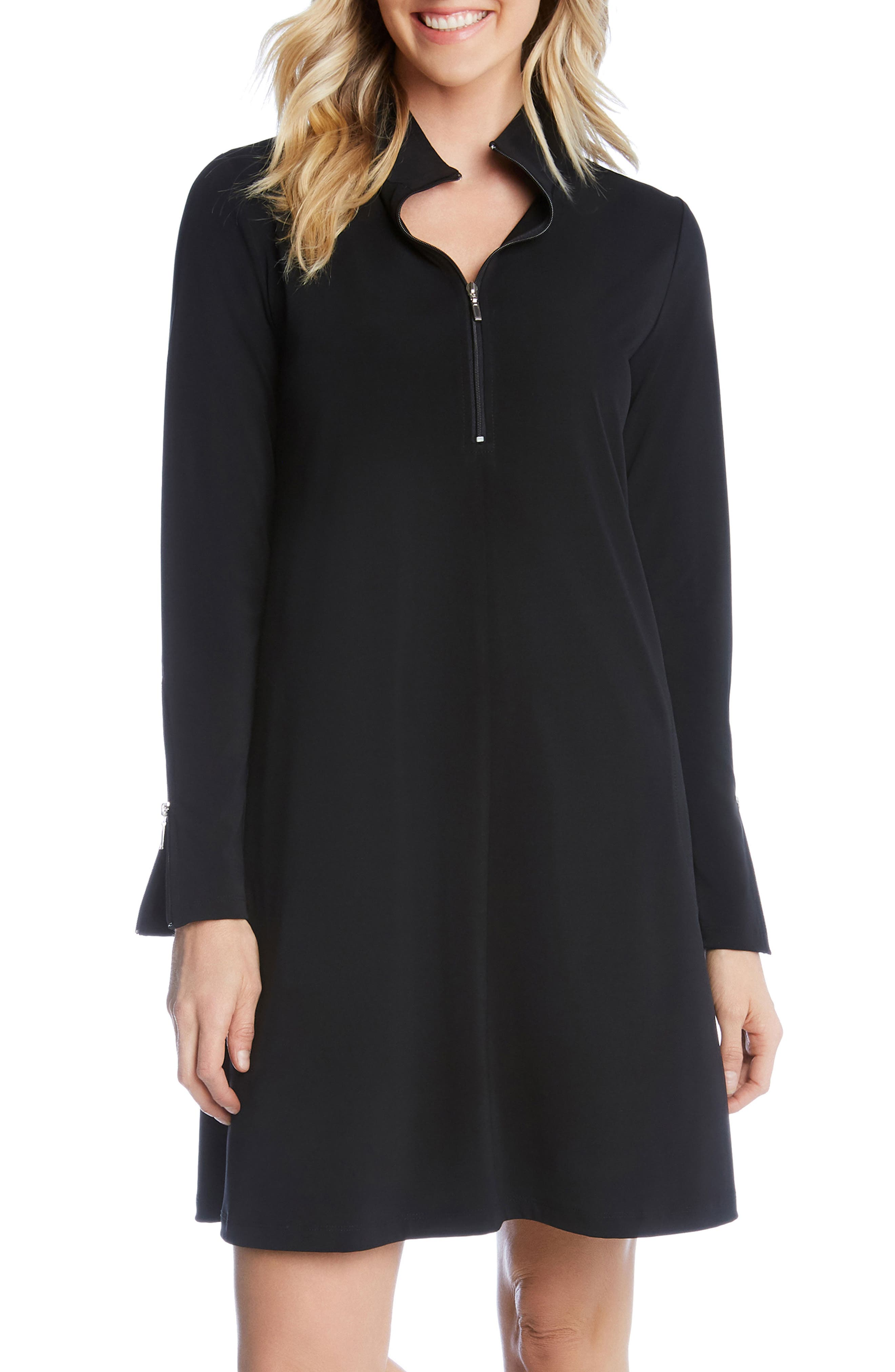 Quarter Zip A-Line Dress,                             Alternate thumbnail 4, color,                             BLACK