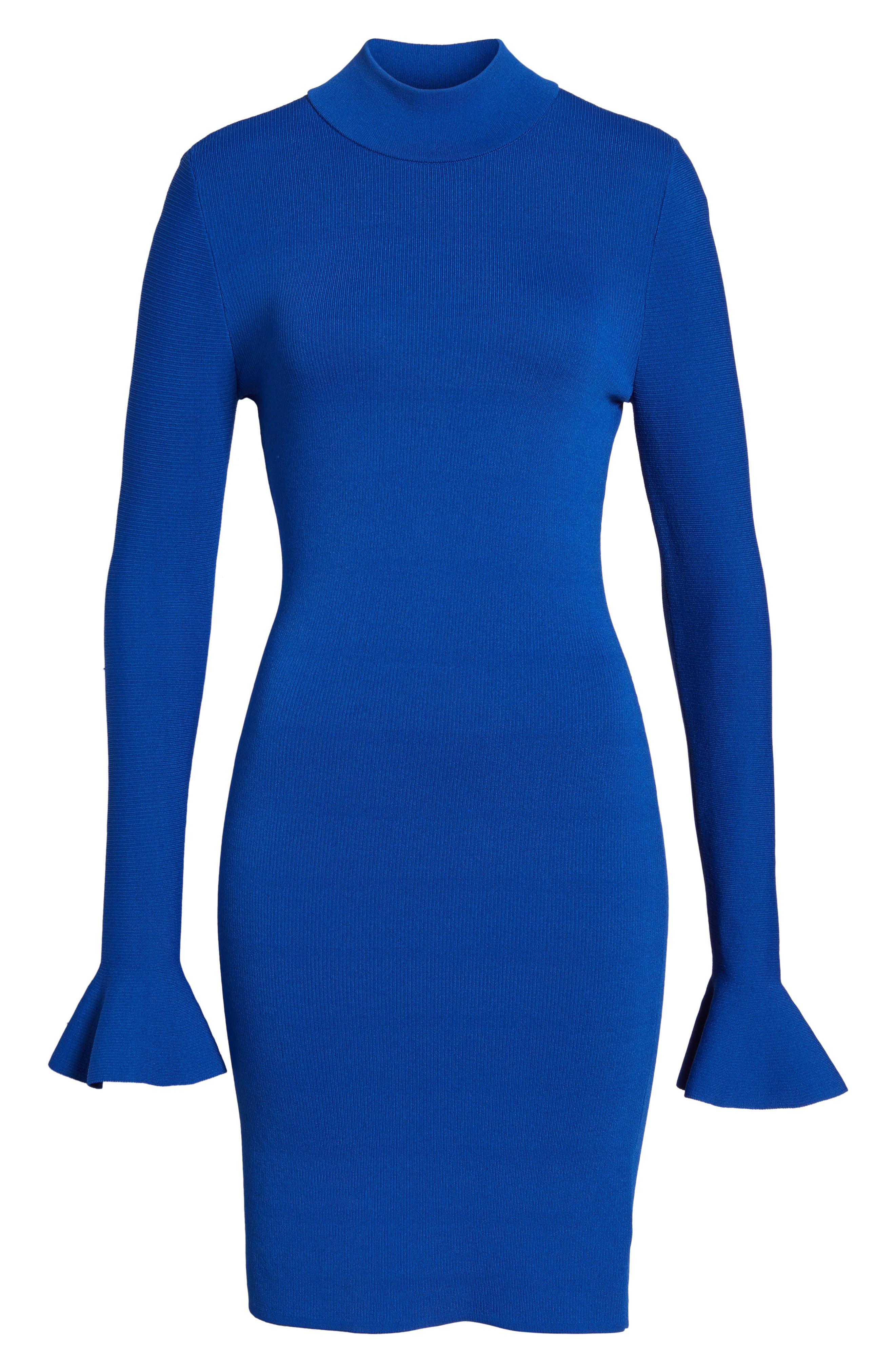 Bell Sleeve Body-Con Dress,                             Alternate thumbnail 6, color,                             403