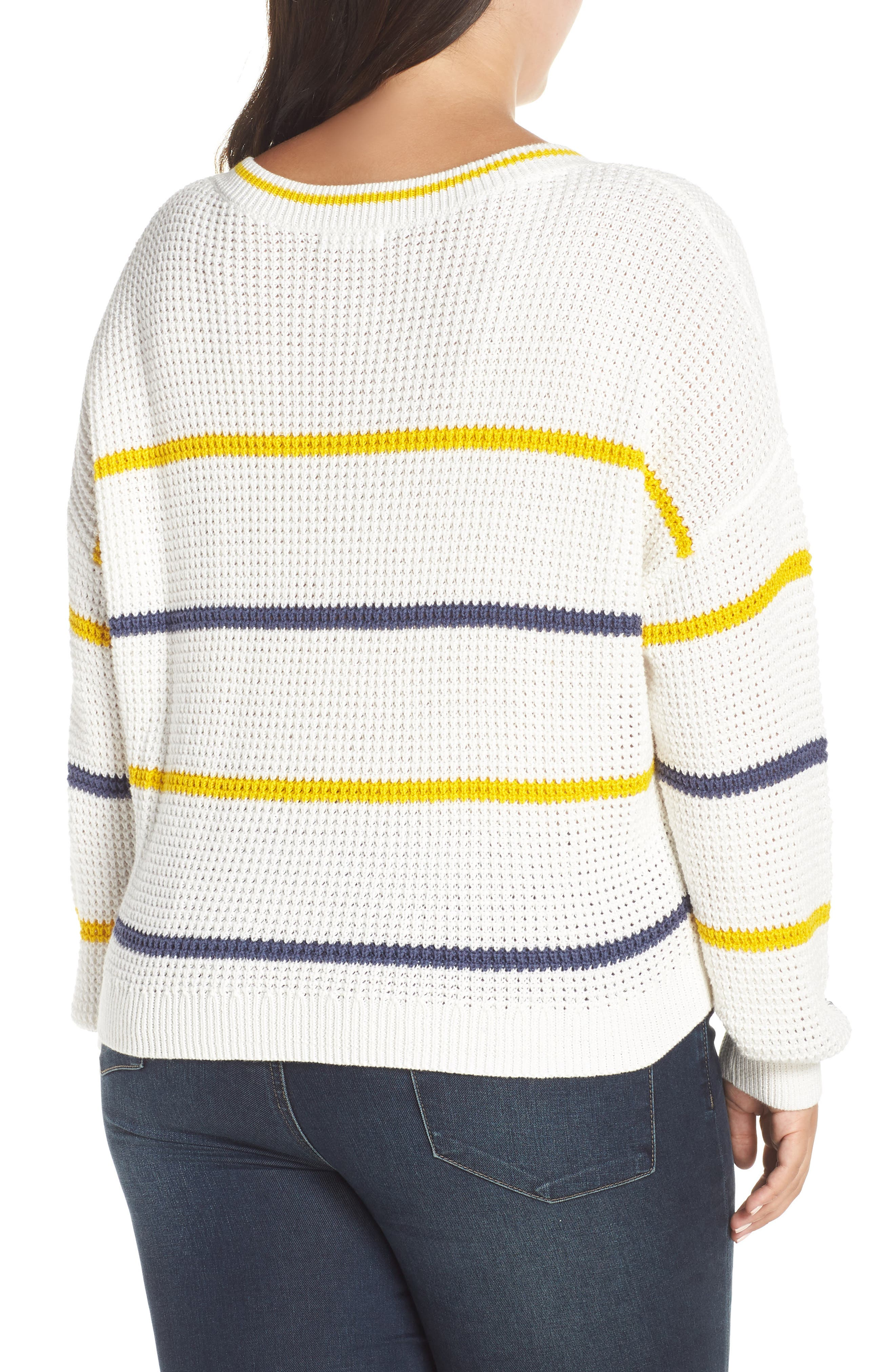 BP.,                             Stripe Cotton Thermal Sweater,                             Alternate thumbnail 8, color,                             IVORY SEA STRIPE