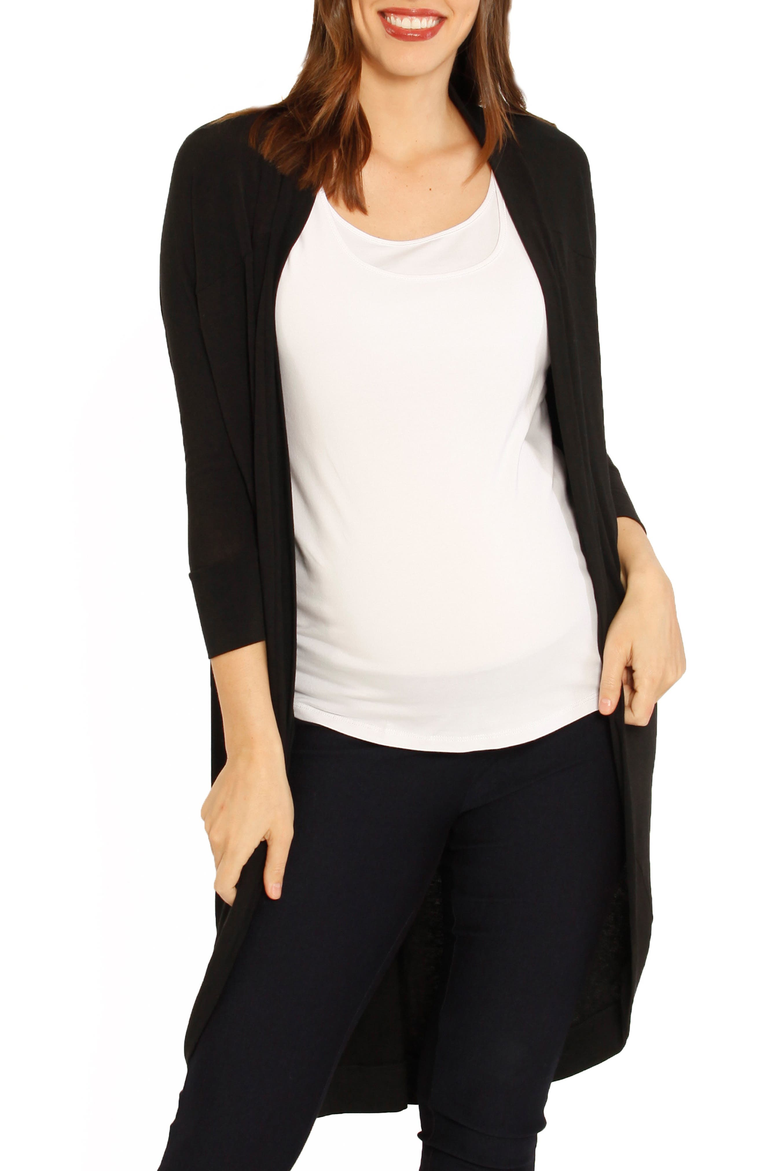 ANGEL MATERNITY Scooped Maternity Cardigan, Main, color, BLACK