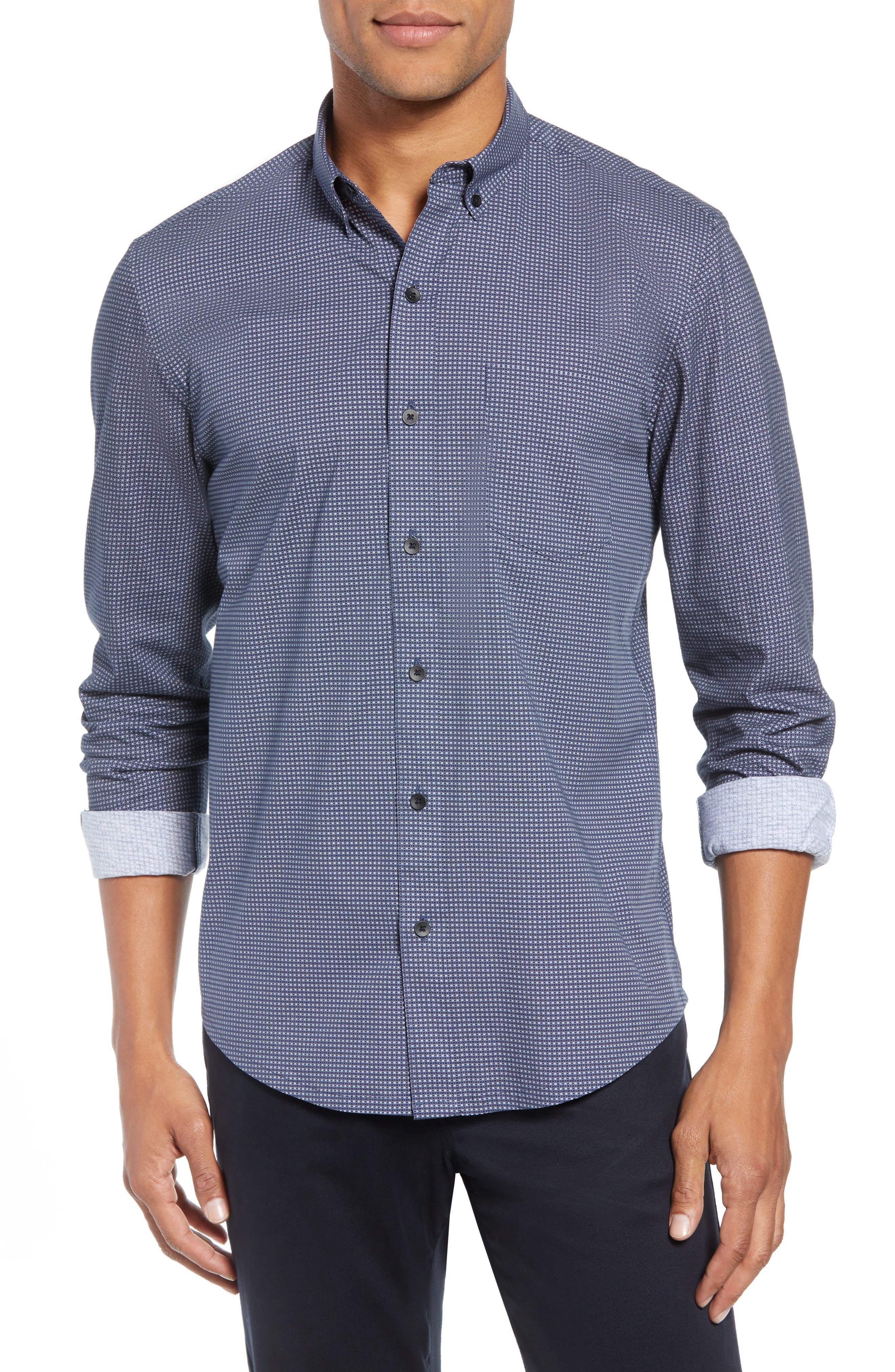 Reworked Slim Fit Grid Print Sport Shirt,                         Main,                         color, 410