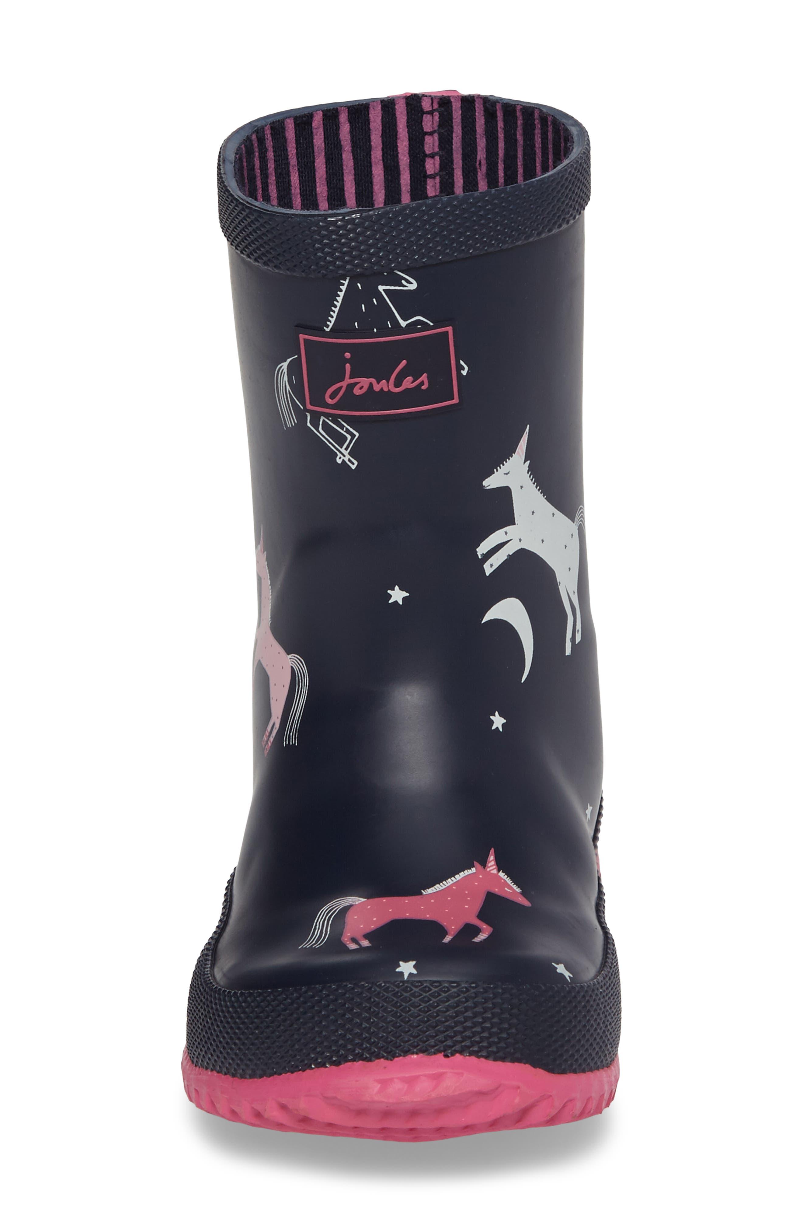 Printed Waterproof Rain Boot,                             Alternate thumbnail 4, color,                             400