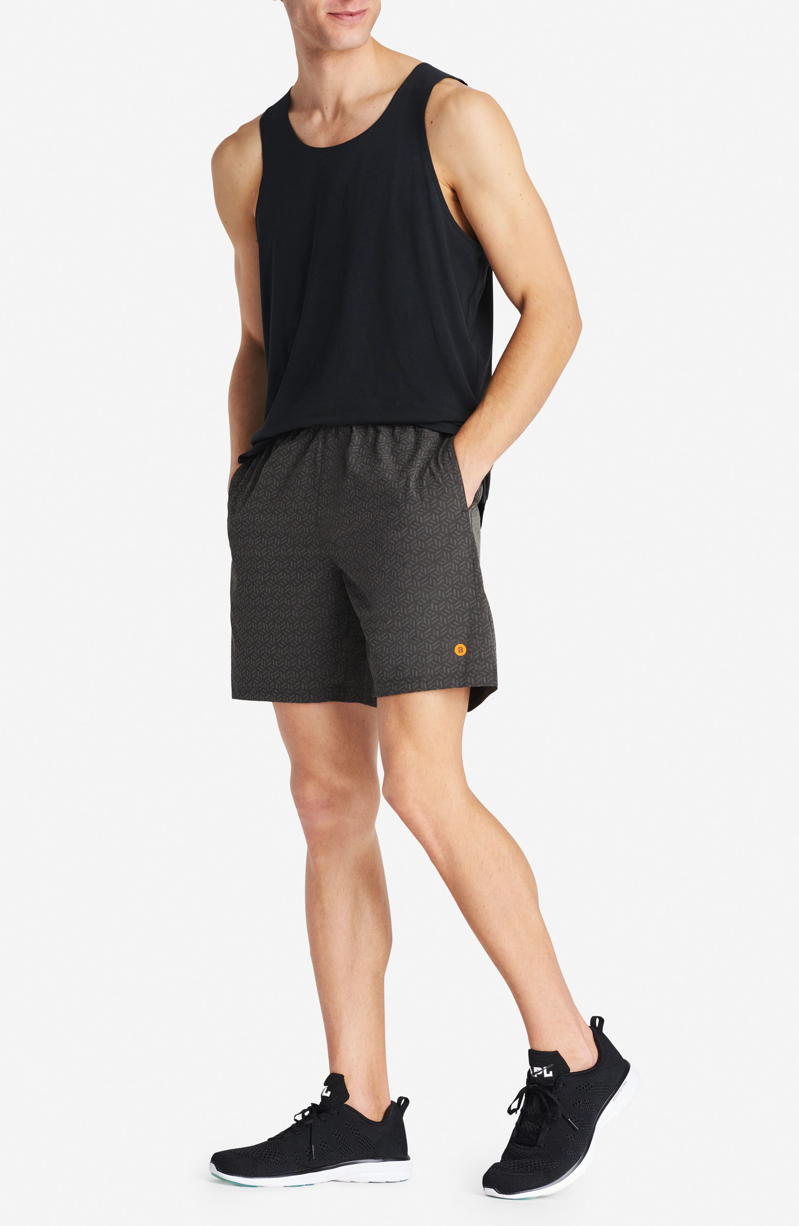 Stretch Shorts,                             Alternate thumbnail 8, color,                             REFLECTIVE CUBE GEO