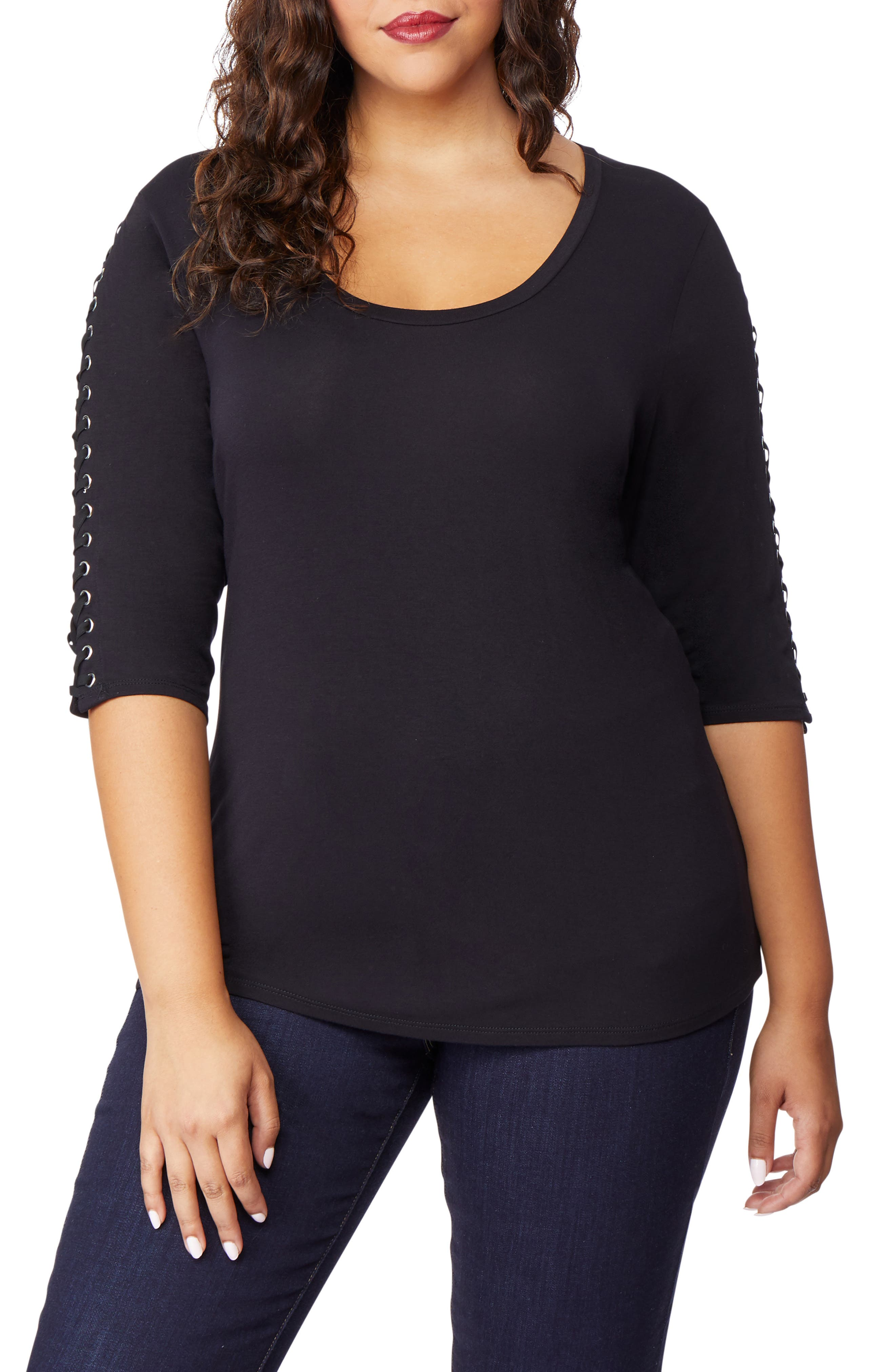Lace-Up Sleeve Top,                             Main thumbnail 1, color,                             BLACK BEAUTY
