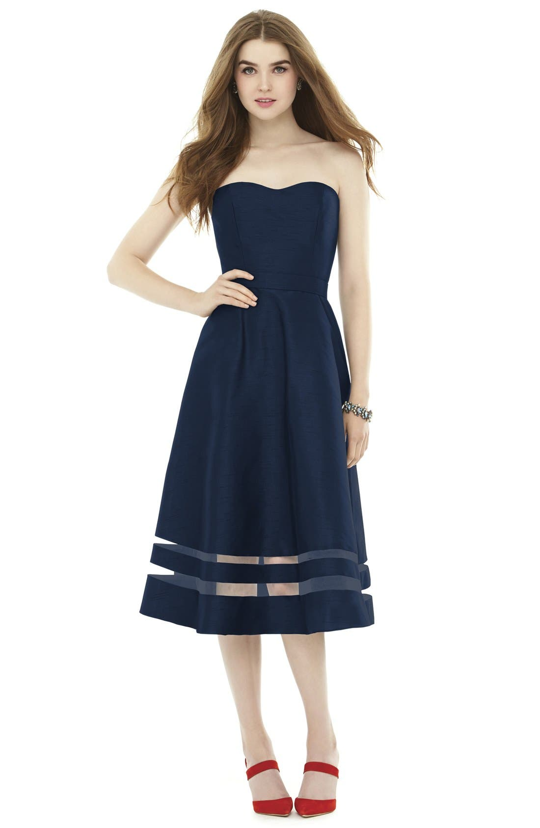 Illusion Stripe Strapless A-Line Midi Dress,                         Main,                         color,