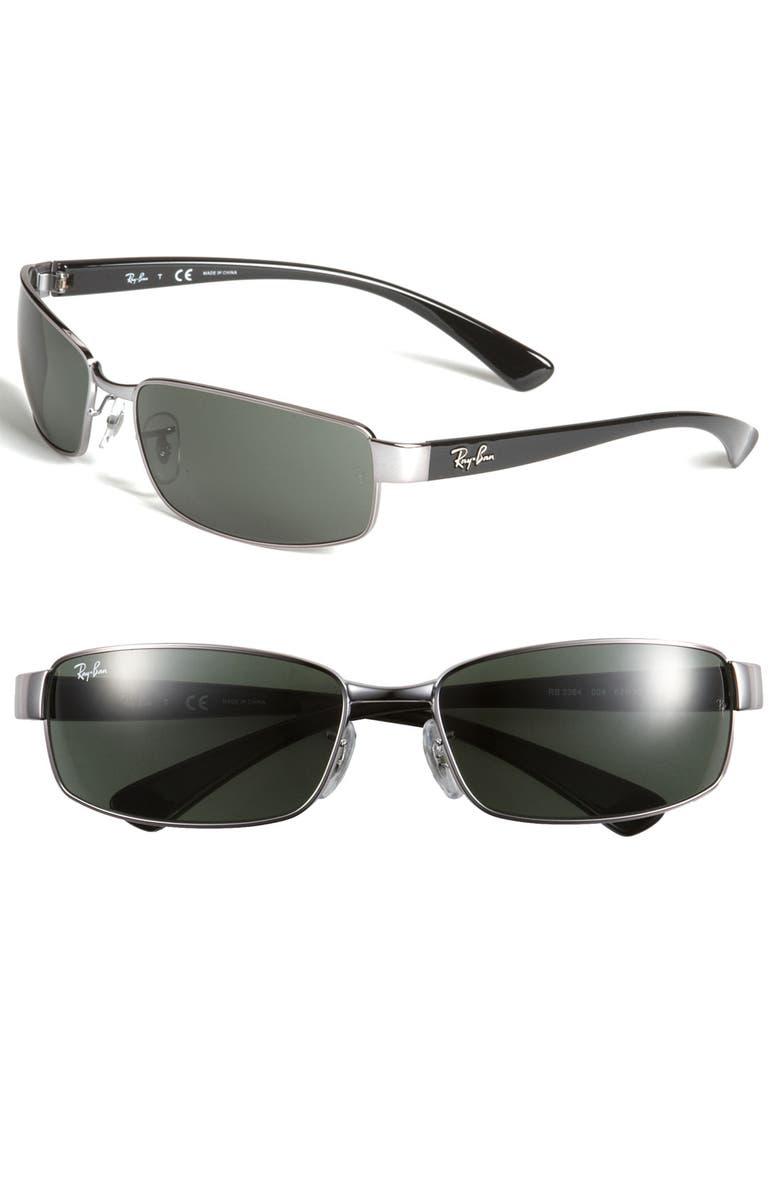 59335ee656 Ray-Ban Metal Rectangle 62mm Wrap Sunglasses