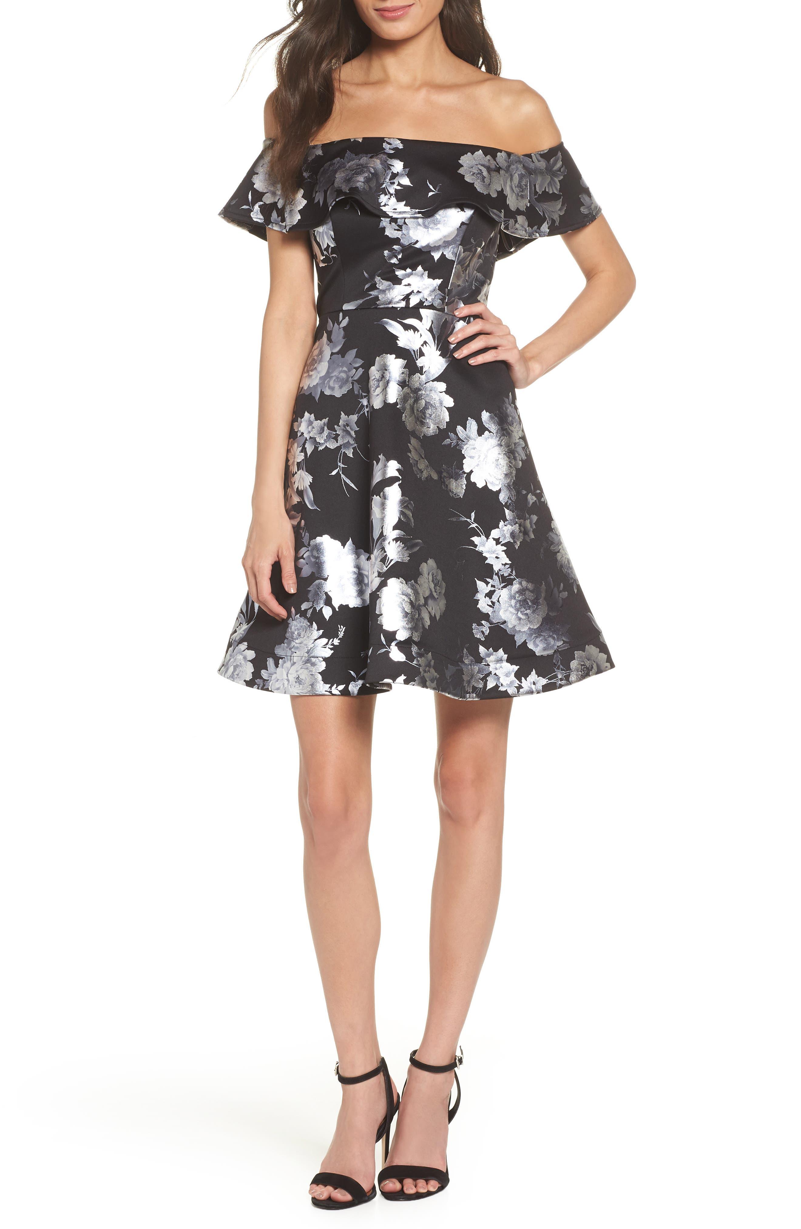 Off the Shoulder Foil Scuba Fit & Flare Dress,                         Main,                         color, BLACK/ SILVER