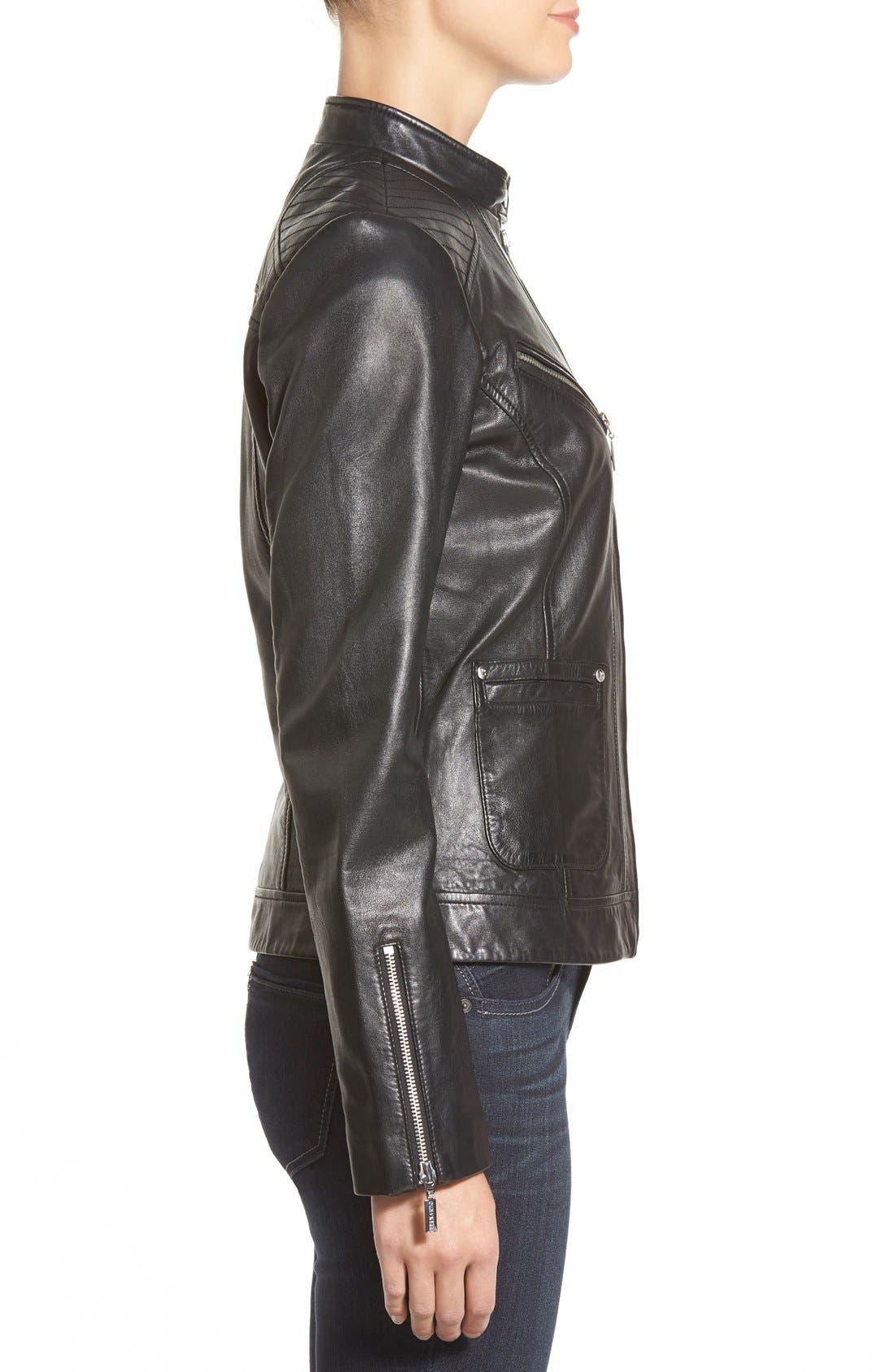 Zip Front Leather Jacket,                             Alternate thumbnail 3, color,