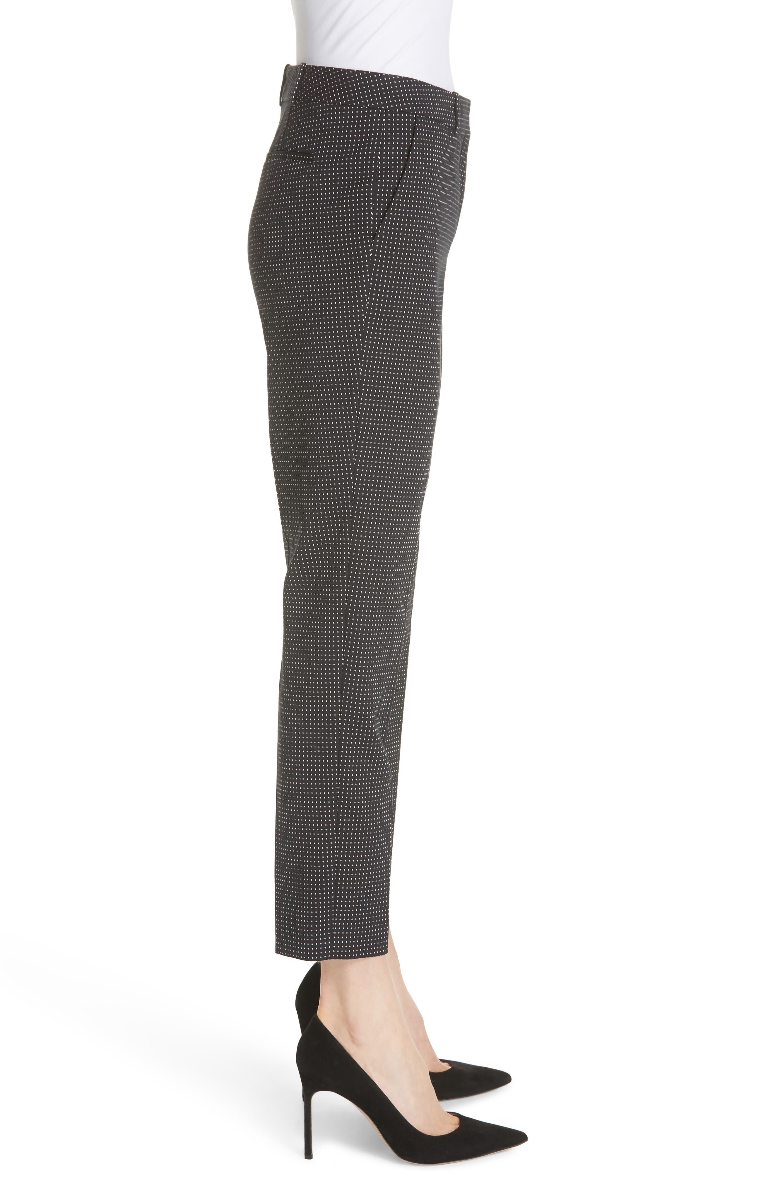 Tanitea Mini Dot Stretch Wool Suit Trousers,                             Alternate thumbnail 3, color,                             BLACK FANTASY