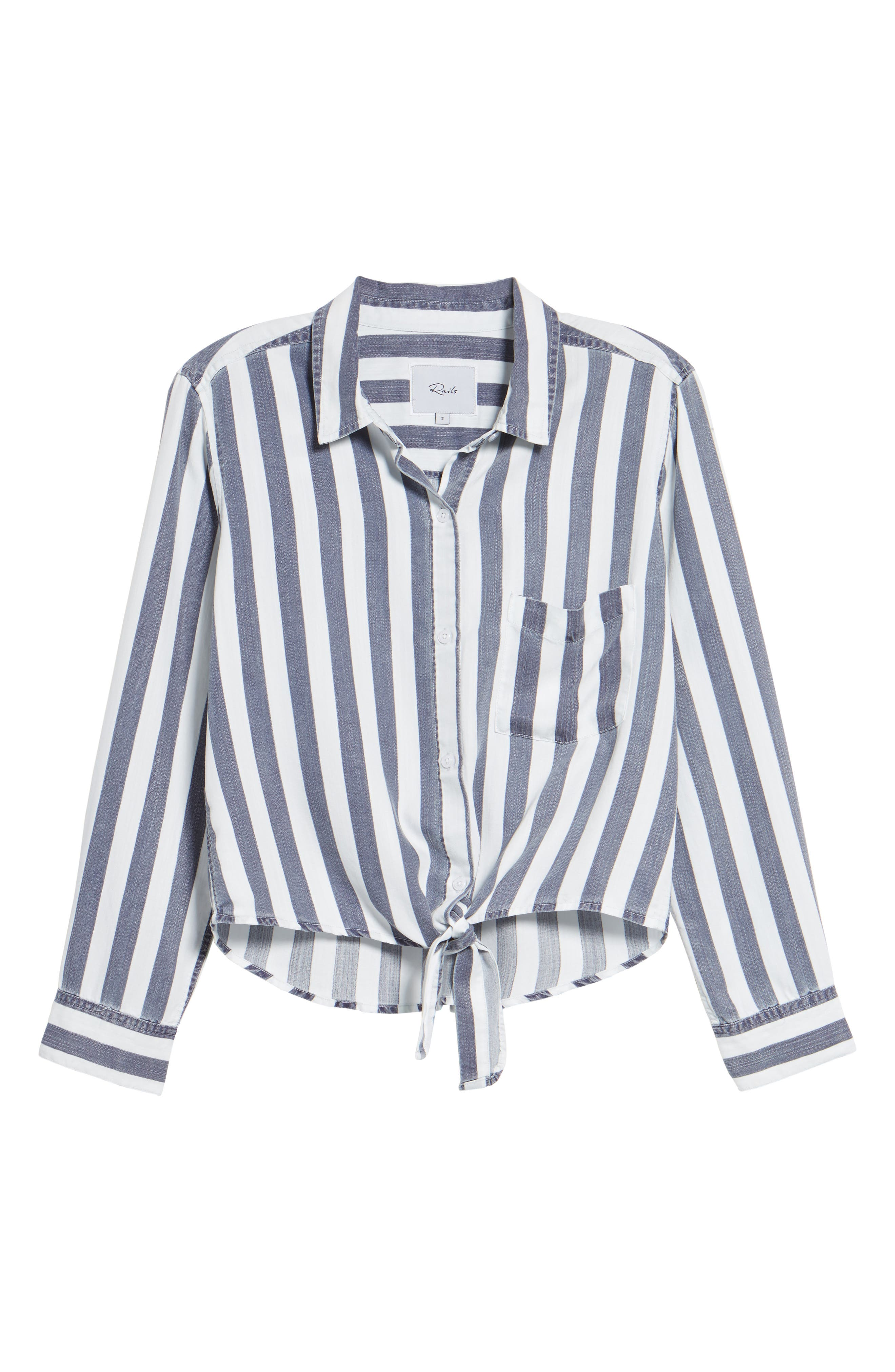 Val Stripe Tie Front Top,                             Alternate thumbnail 6, color,