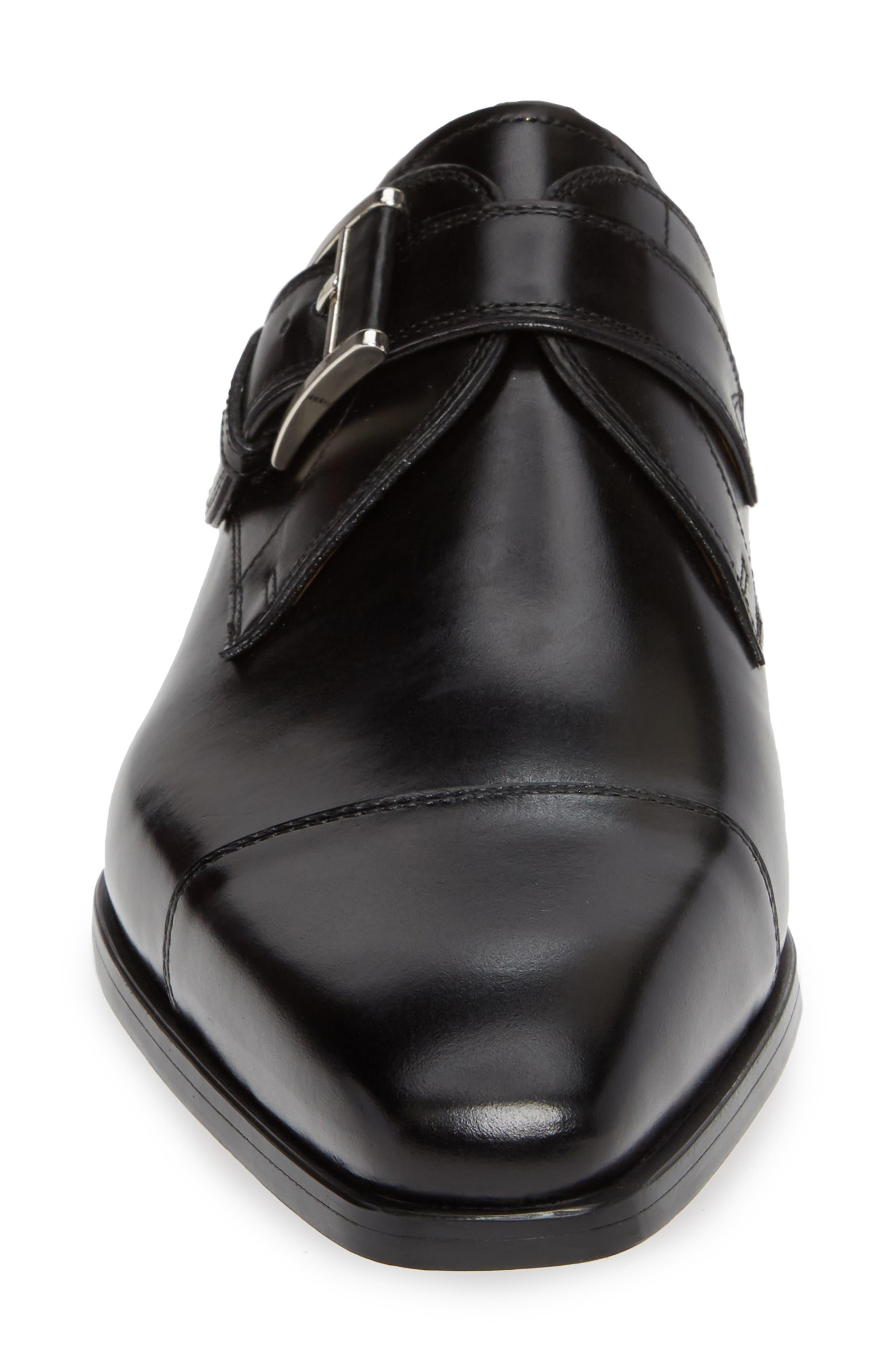 Patricio Monk Strap Shoe,                             Alternate thumbnail 4, color,                             BLACK LEATHER
