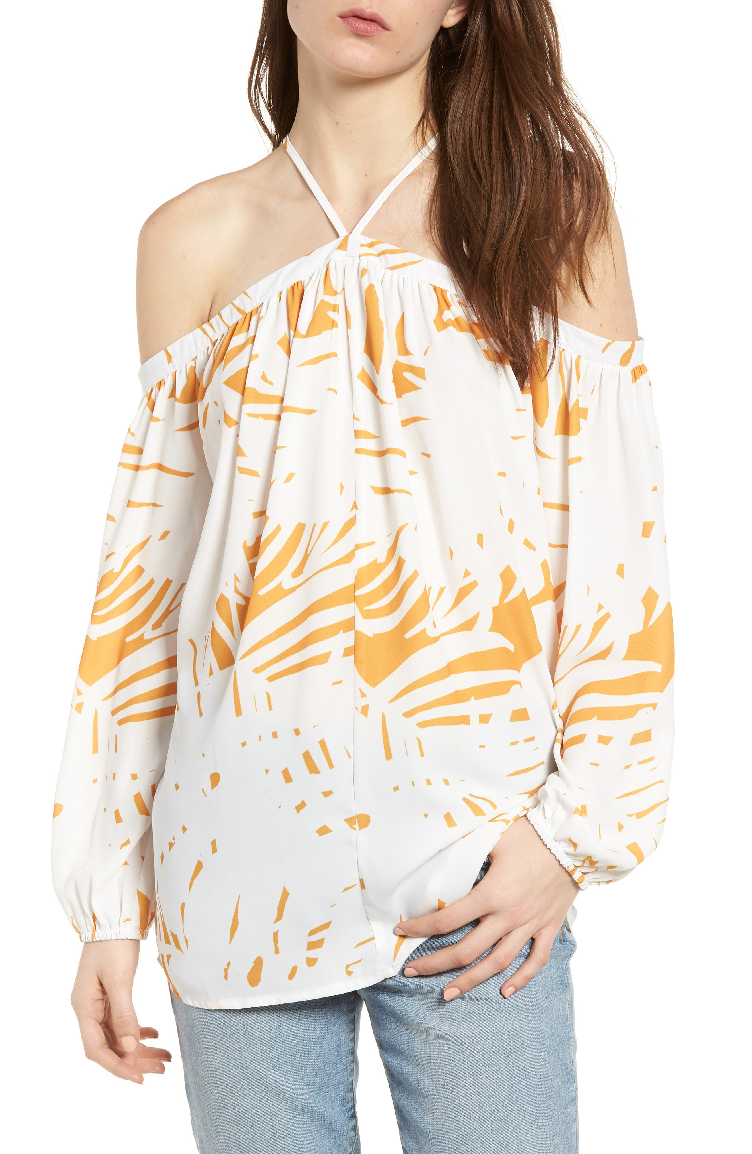 Bishop + Young Ana Palm Print Off the Shoulder Top,                             Main thumbnail 1, color,                             400