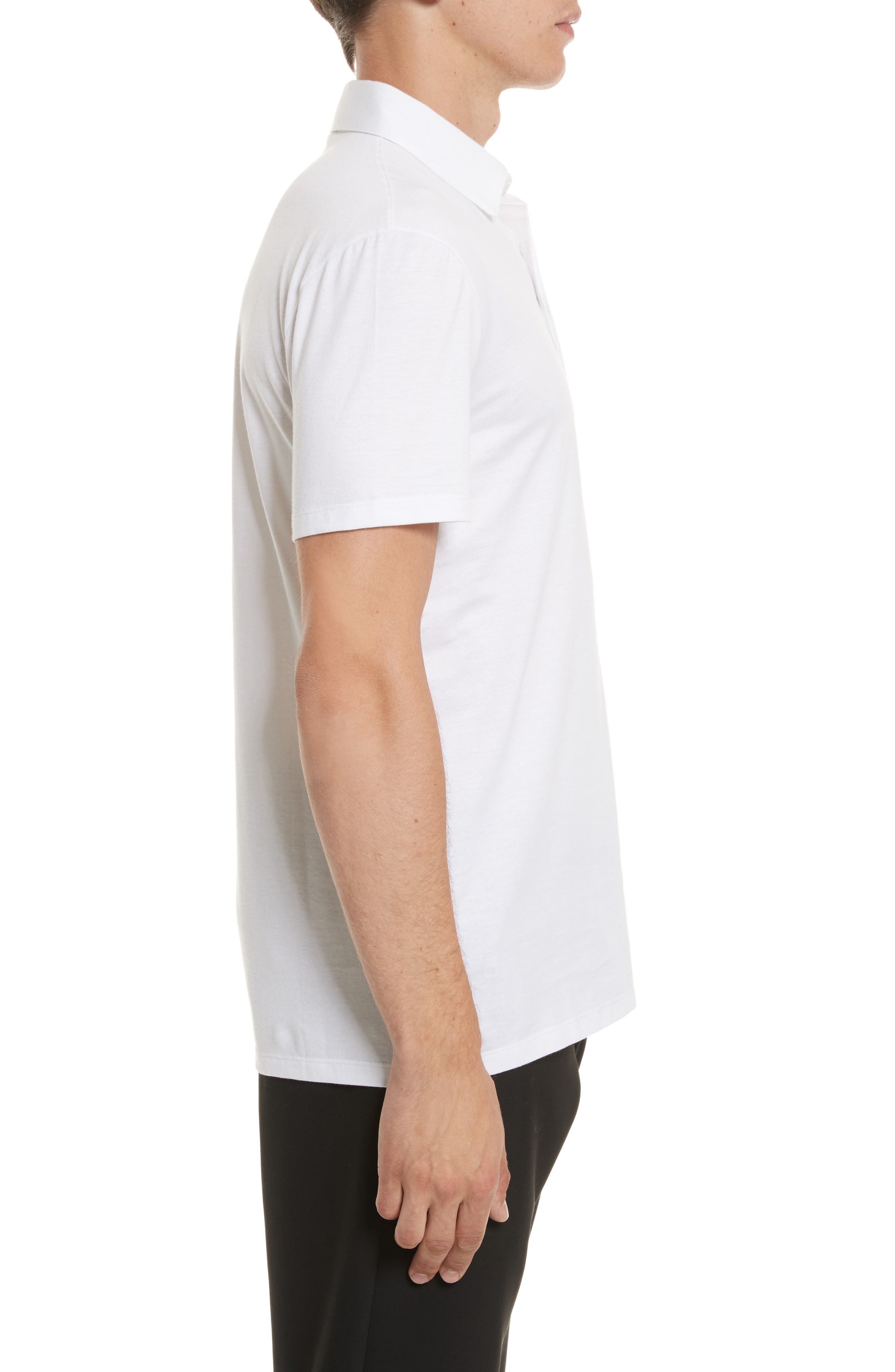 VERSACE COLLECTION,                             Logo Patch Jersey Polo,                             Alternate thumbnail 3, color,                             WHITE