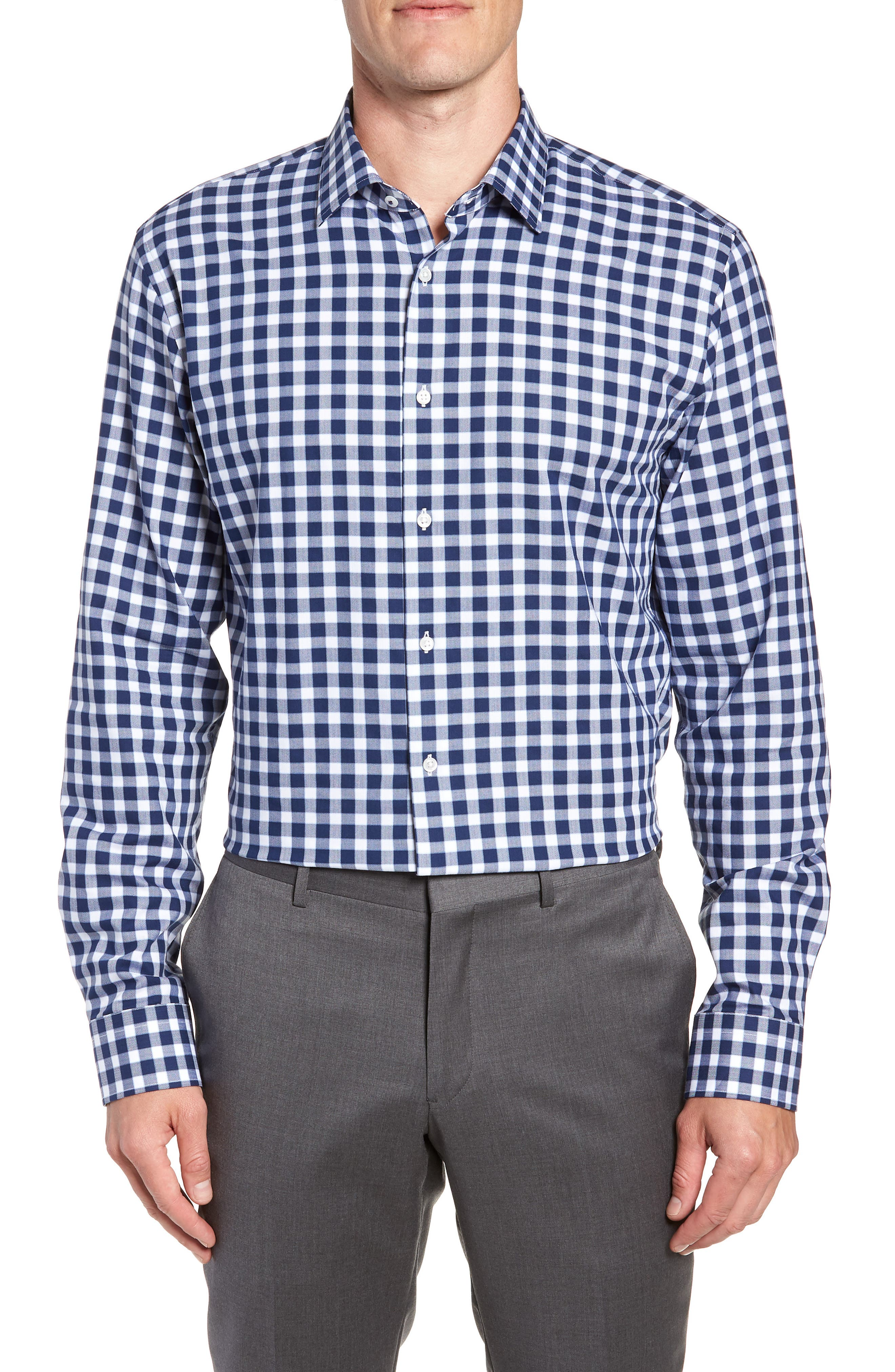 Tech-Smart Trim Fit Stretch Check Dress Shirt,                             Main thumbnail 1, color,                             NAVY PEACOAT