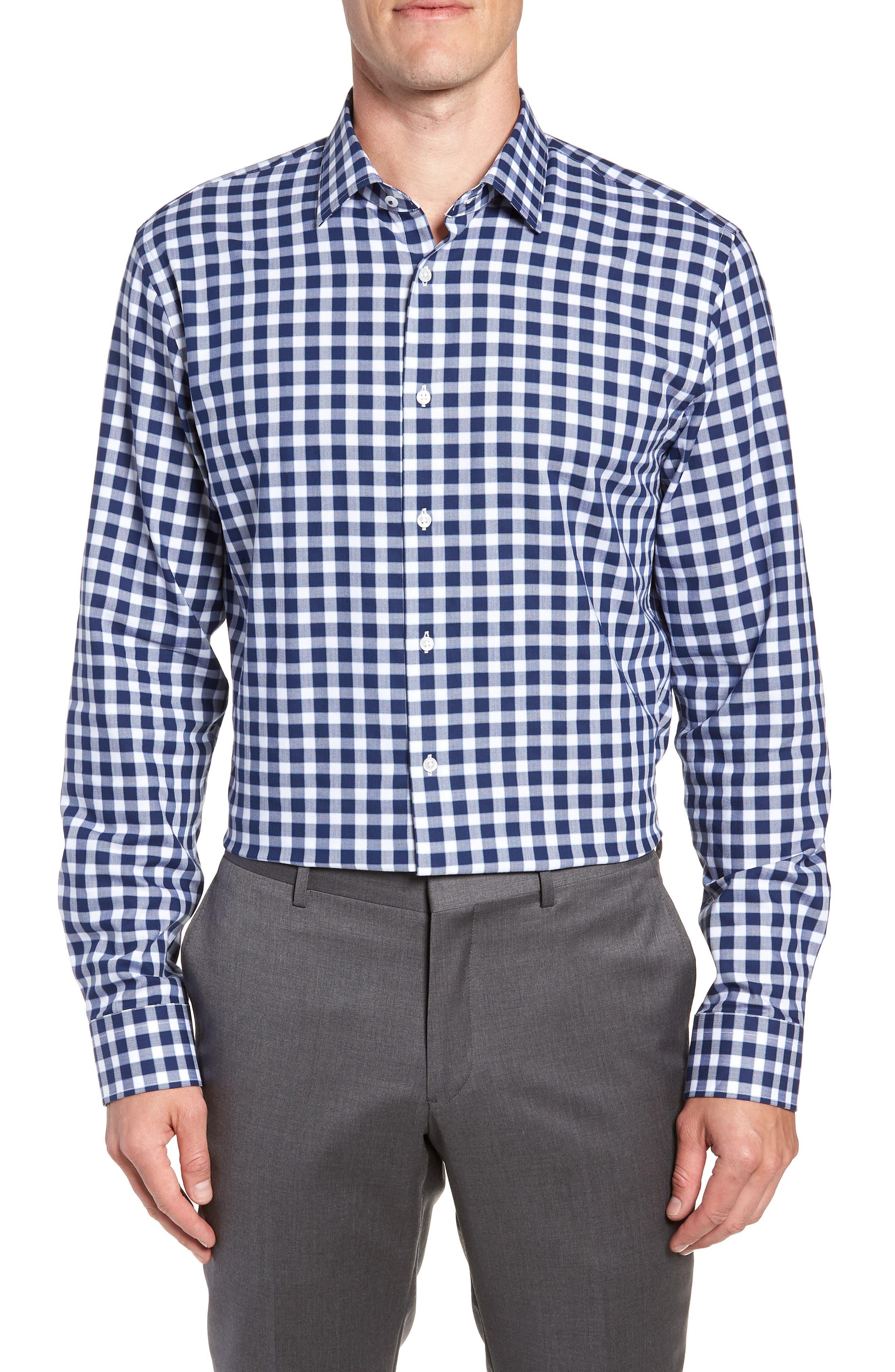 Tech-Smart Trim Fit Stretch Check Dress Shirt,                         Main,                         color, NAVY PEACOAT