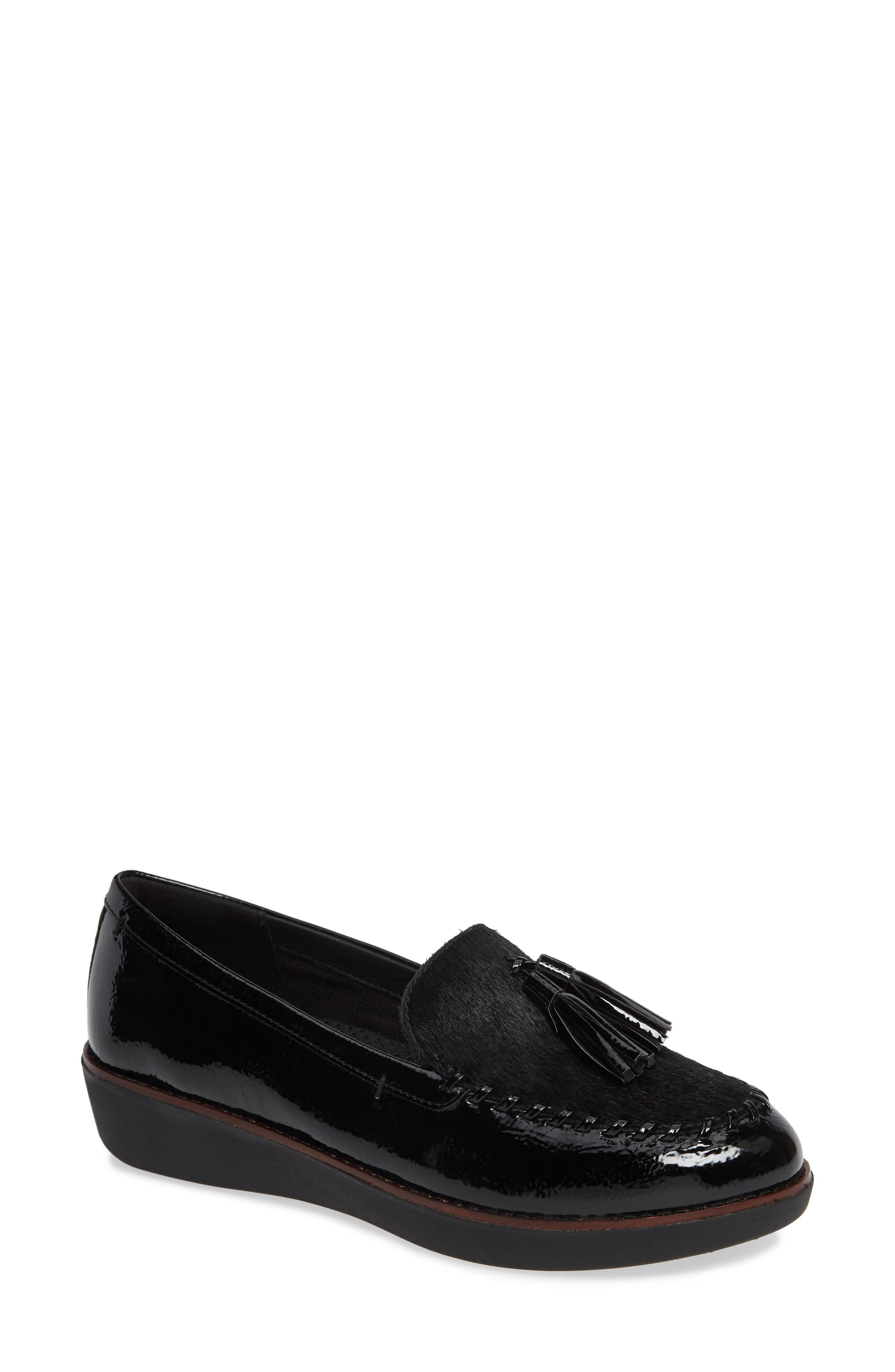 Petrina Genuine Calf Hair Loafer,                             Main thumbnail 1, color,                             BLACK FAUX LEATHER