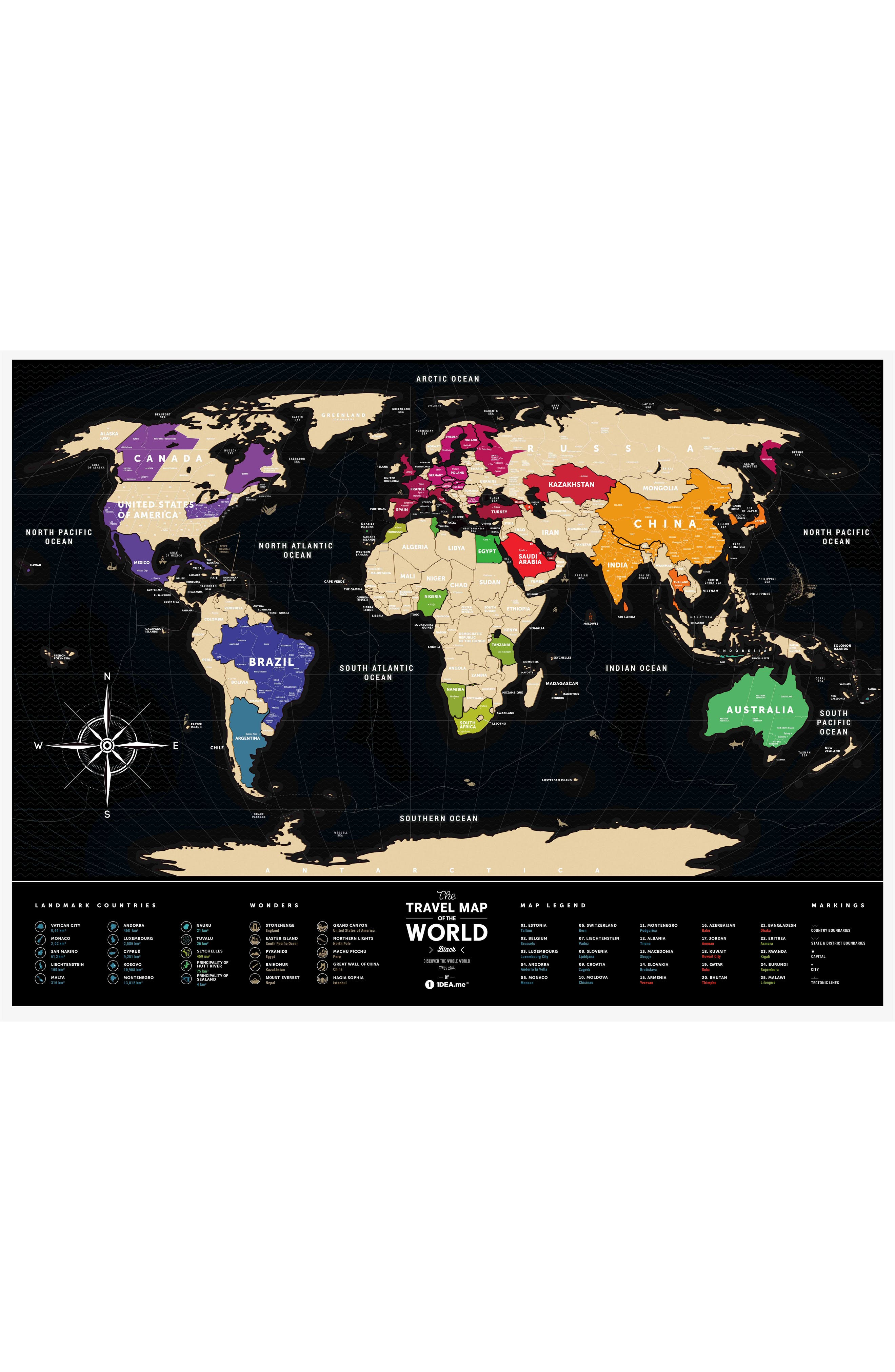 World Travel Map,                             Alternate thumbnail 4, color,                             BLACK