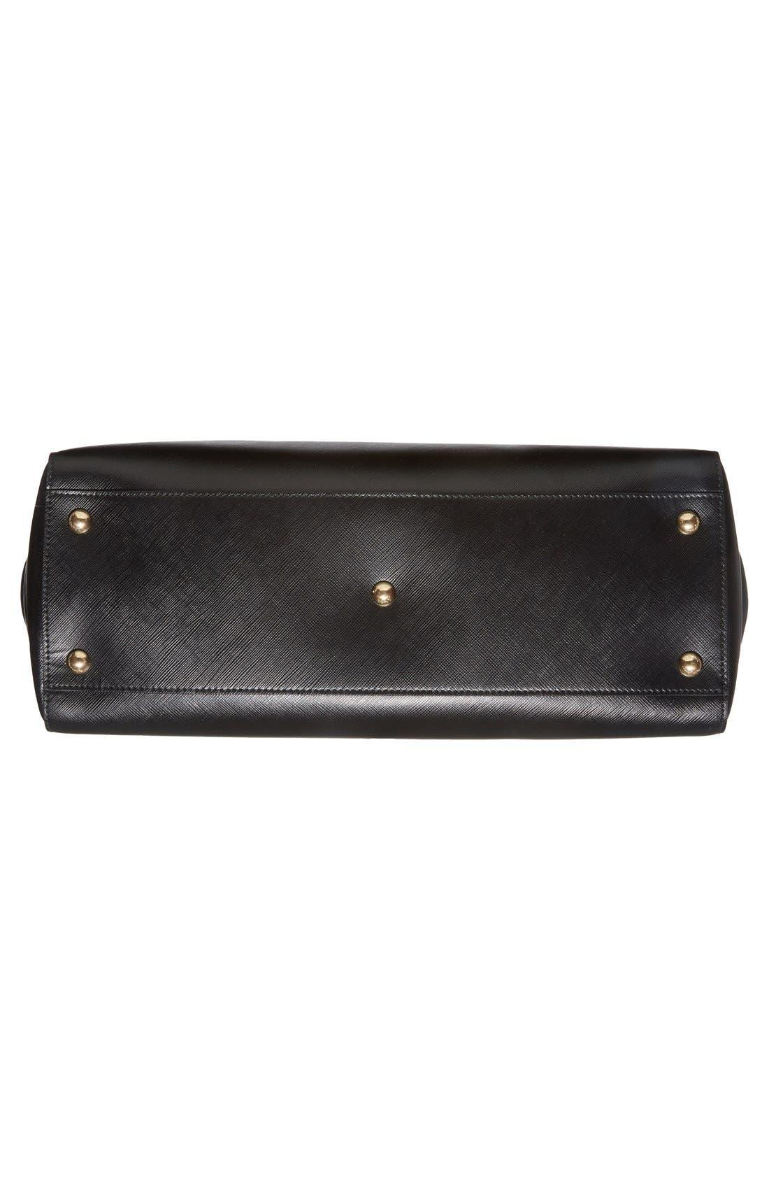Saffiano Leather Bow Shopper,                             Alternate thumbnail 3, color,                             001