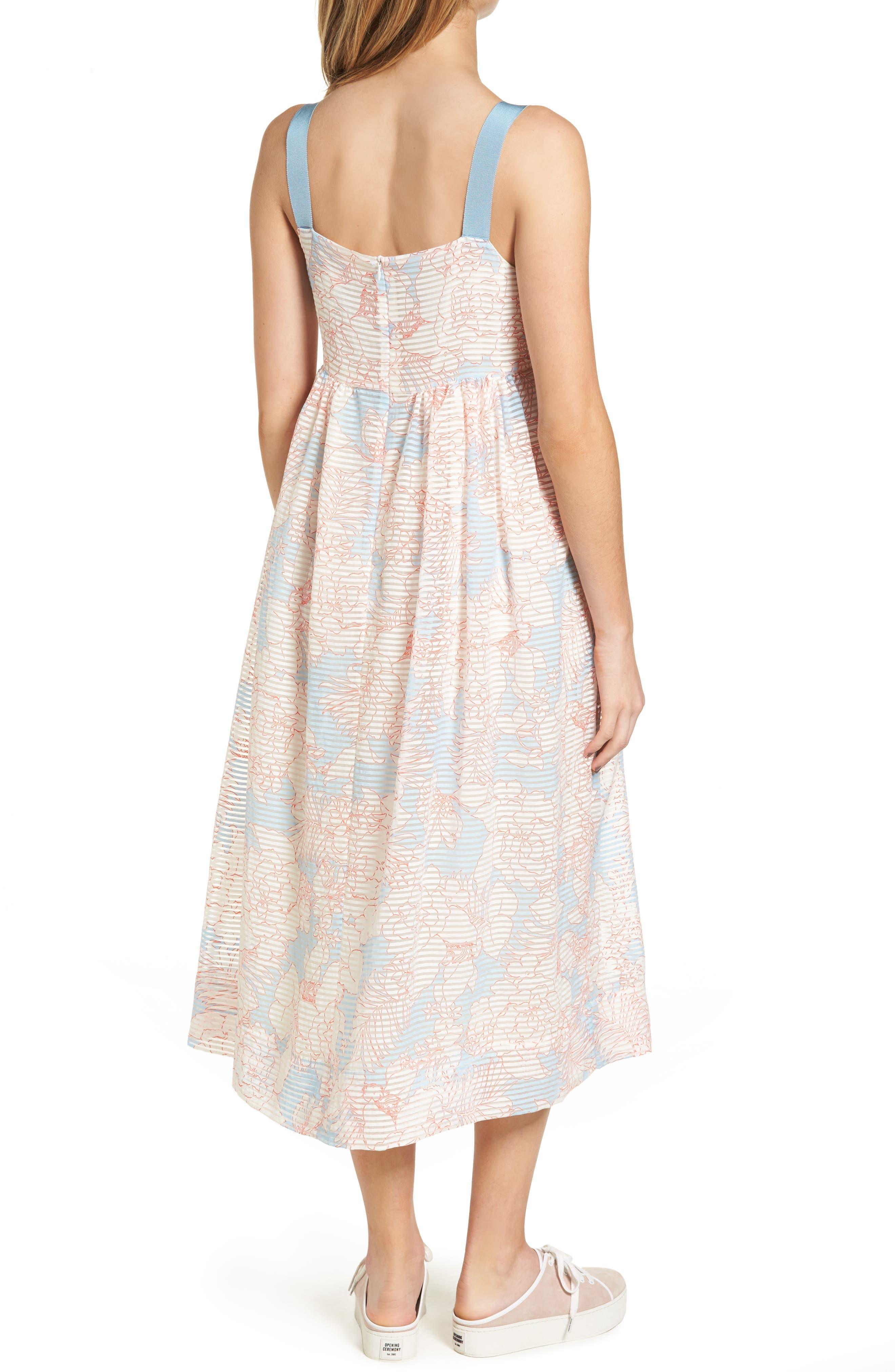 Bahamas Print Midi Dress,                             Alternate thumbnail 2, color,                             400
