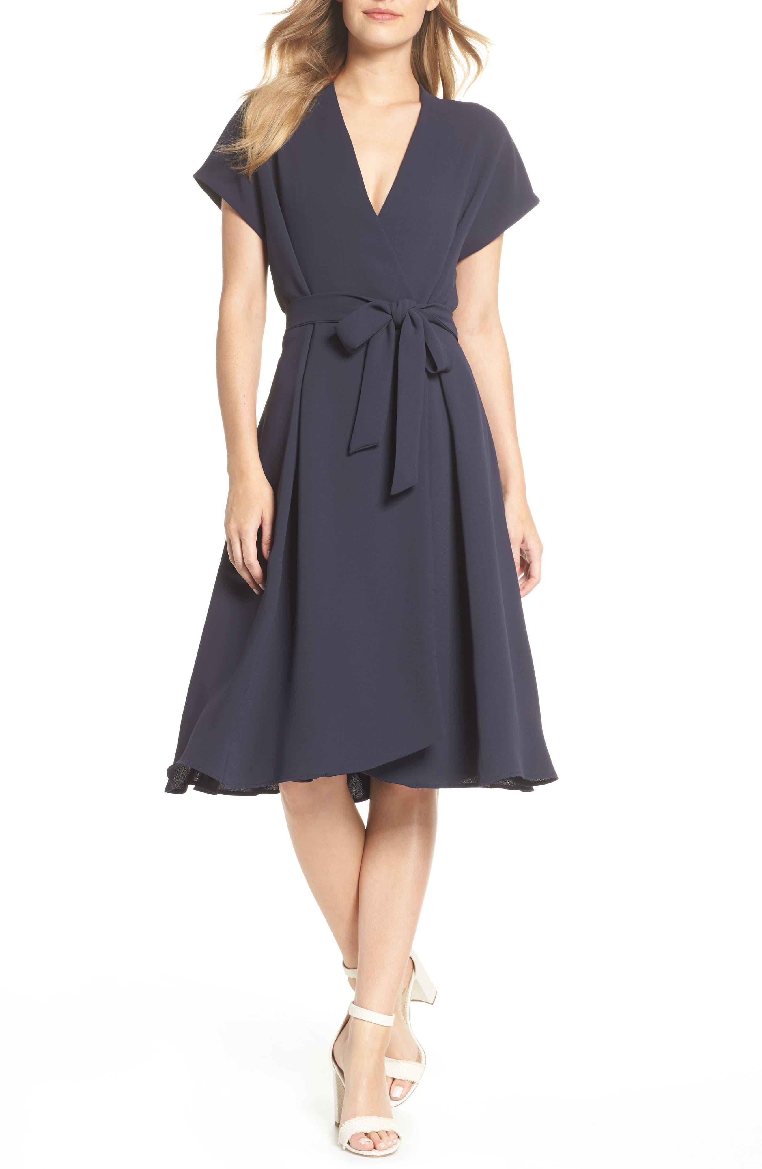 Audrey Wrap Dress,                         Main,                         color, NAVY