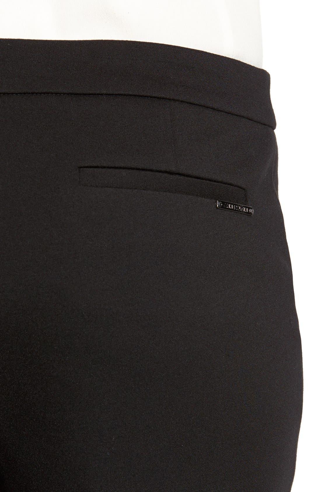 Compression Flare Leg Ponte Pants,                             Alternate thumbnail 4, color,                             BLACK
